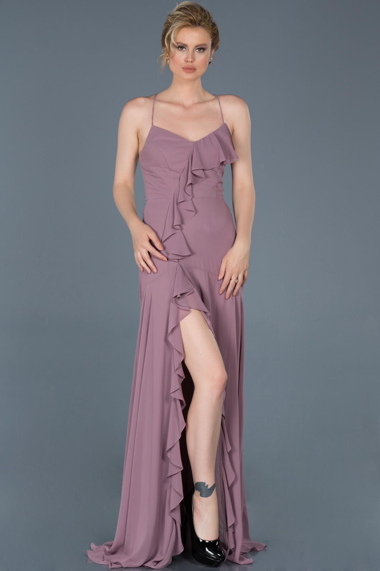 Lavanta Uzun Bacak Dekolteli Mezuniyet Elbisesi