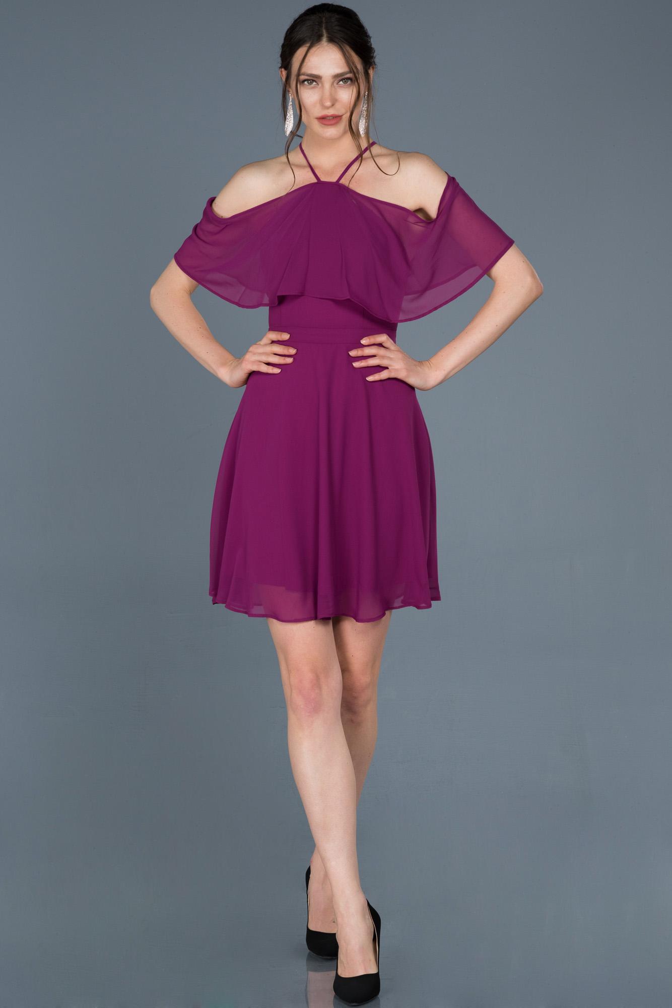 Violet Kısa Şifon Davet Elbisesi