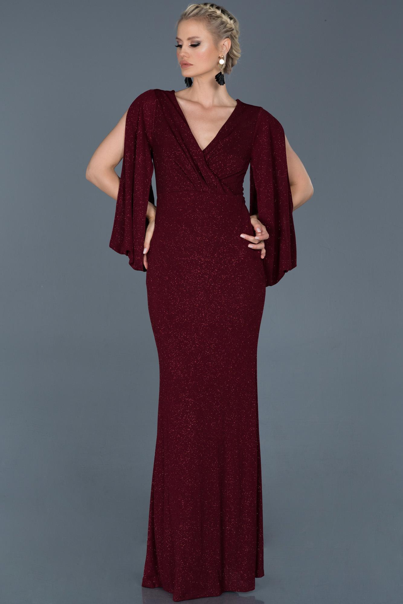 Bordo Uzun Kruvaze Yaka Simli Nişan Elbisesi