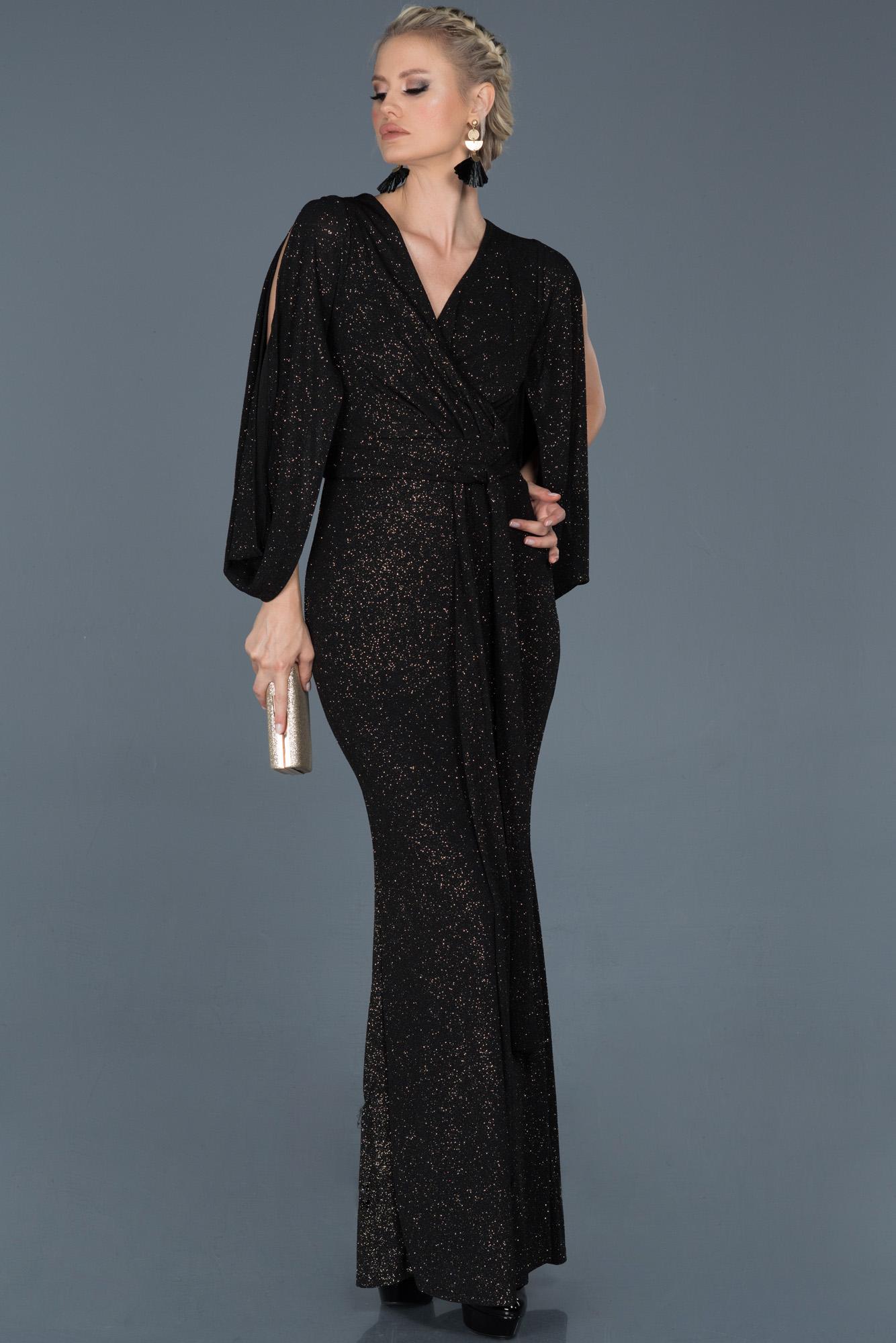 Siyah-Gold Uzun Kruvaze Yaka Simli Nişan Elbisesi