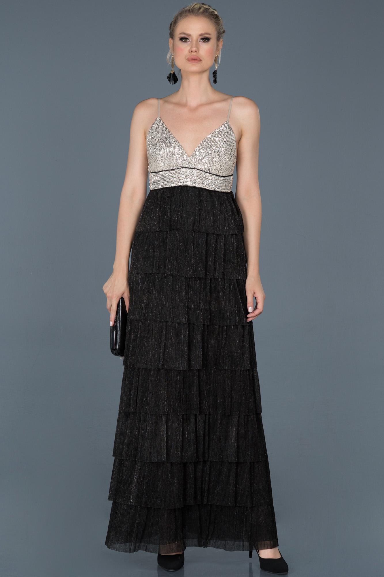 Siyah Uzun Askılı Simli Mezuniyet Elbisesi