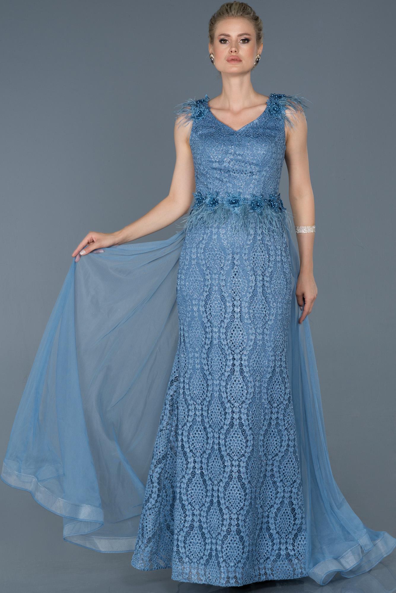 Indigo Güpürlü Kuyruk Detaylı Abiye Elbise