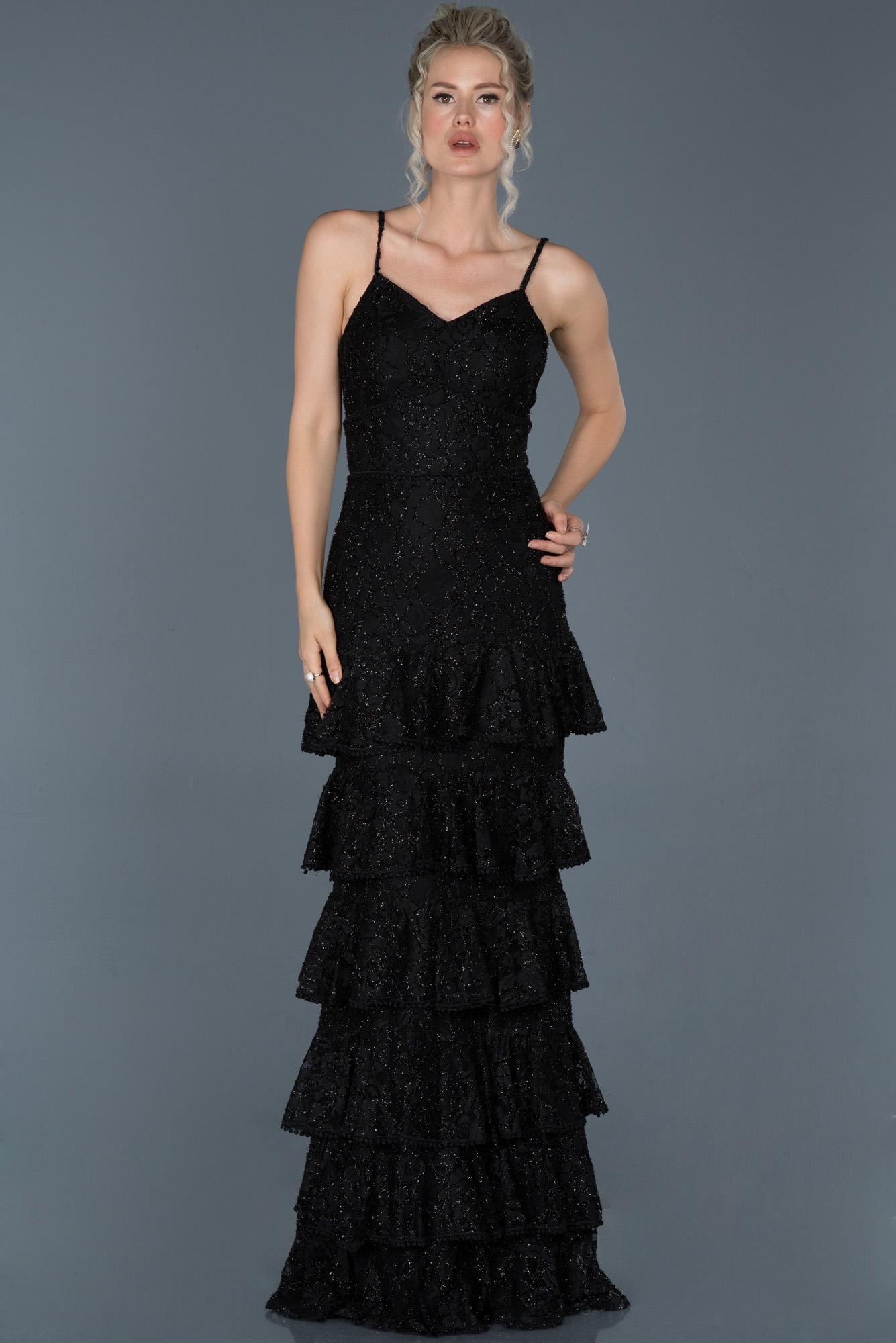 Siyah Uzun Güpürlü Balık Abiye Elbise