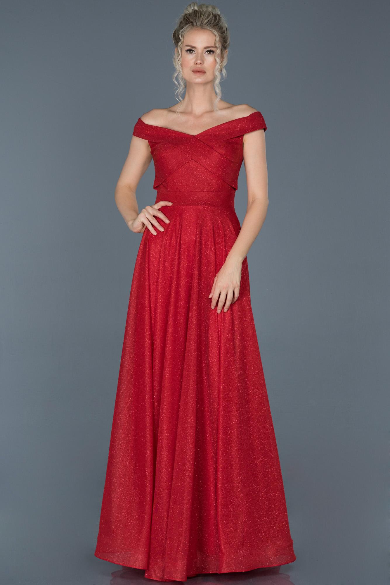 Kırmızı Uzun Simli Kayık Yaka Abiye Elbise