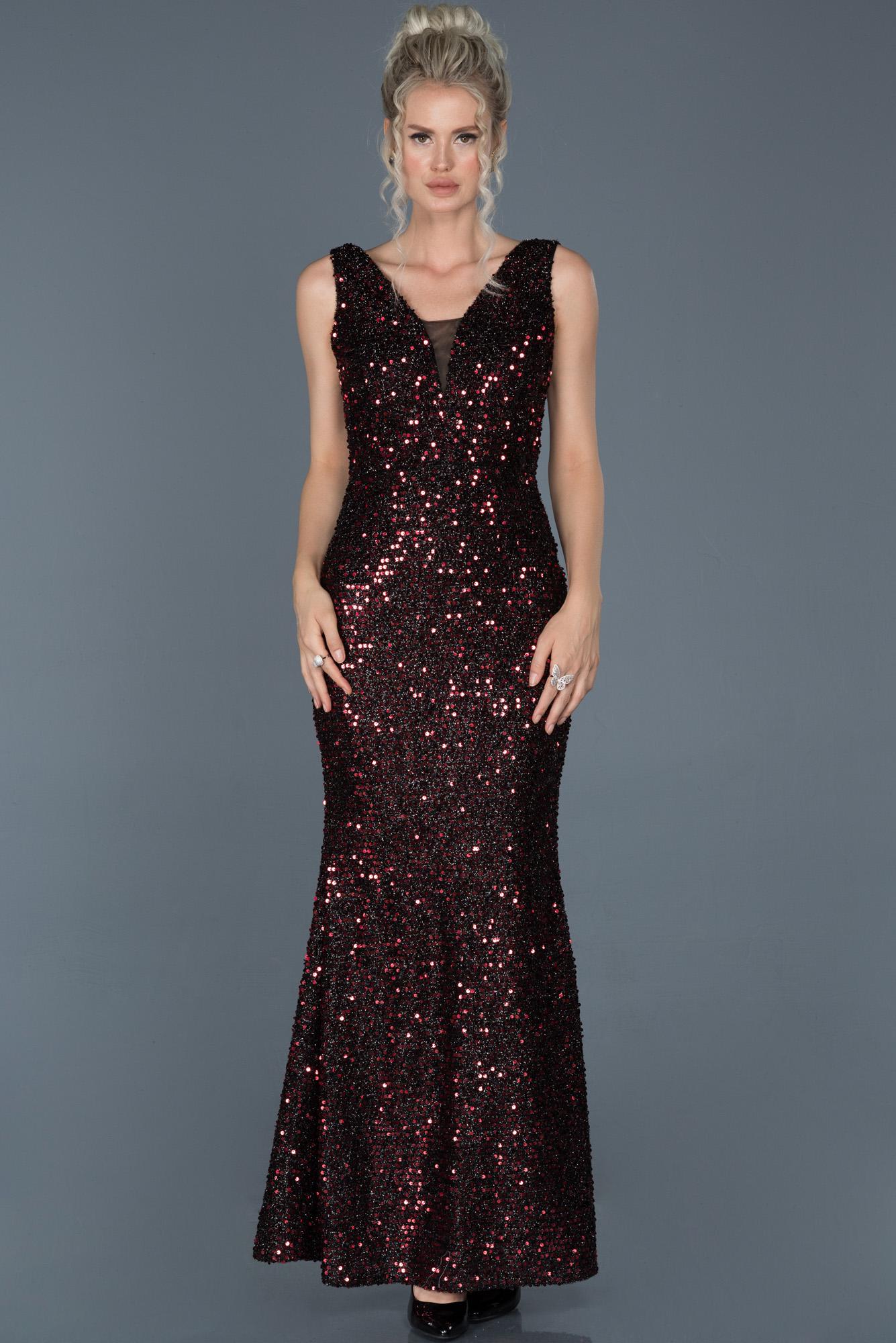 Siyah-Kırmızı Uzun Payetli Balık Abiye Elbise
