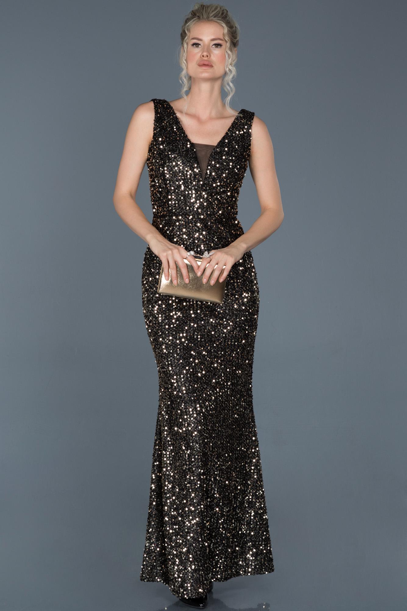 Siyah-Somon Uzun Payetli Balık Abiye Elbise