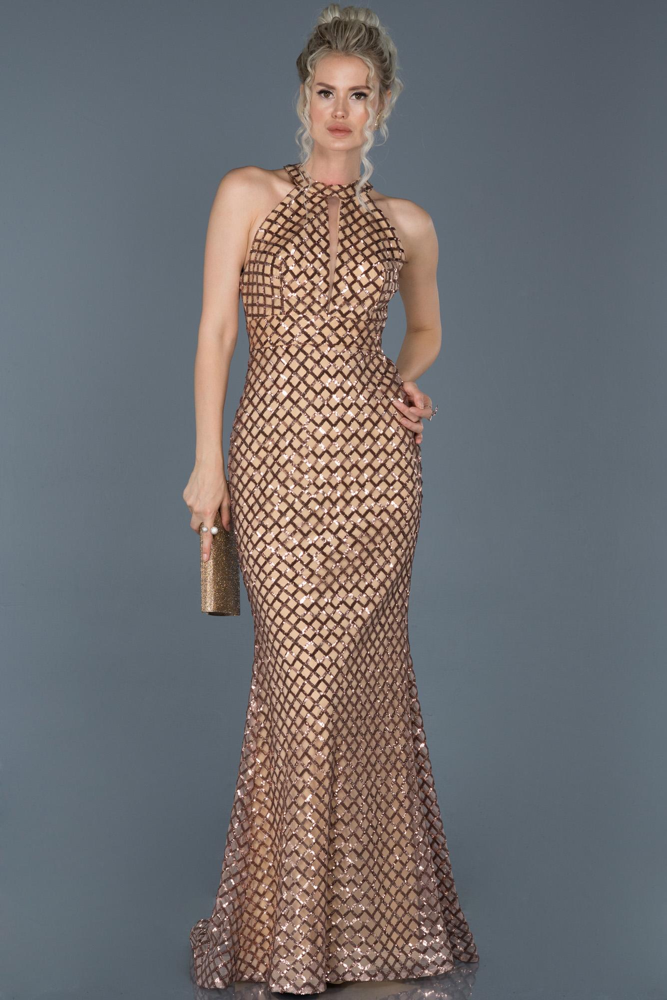 Gold Uzun Payetli Dekoltesiz Balık Abiye Elbise