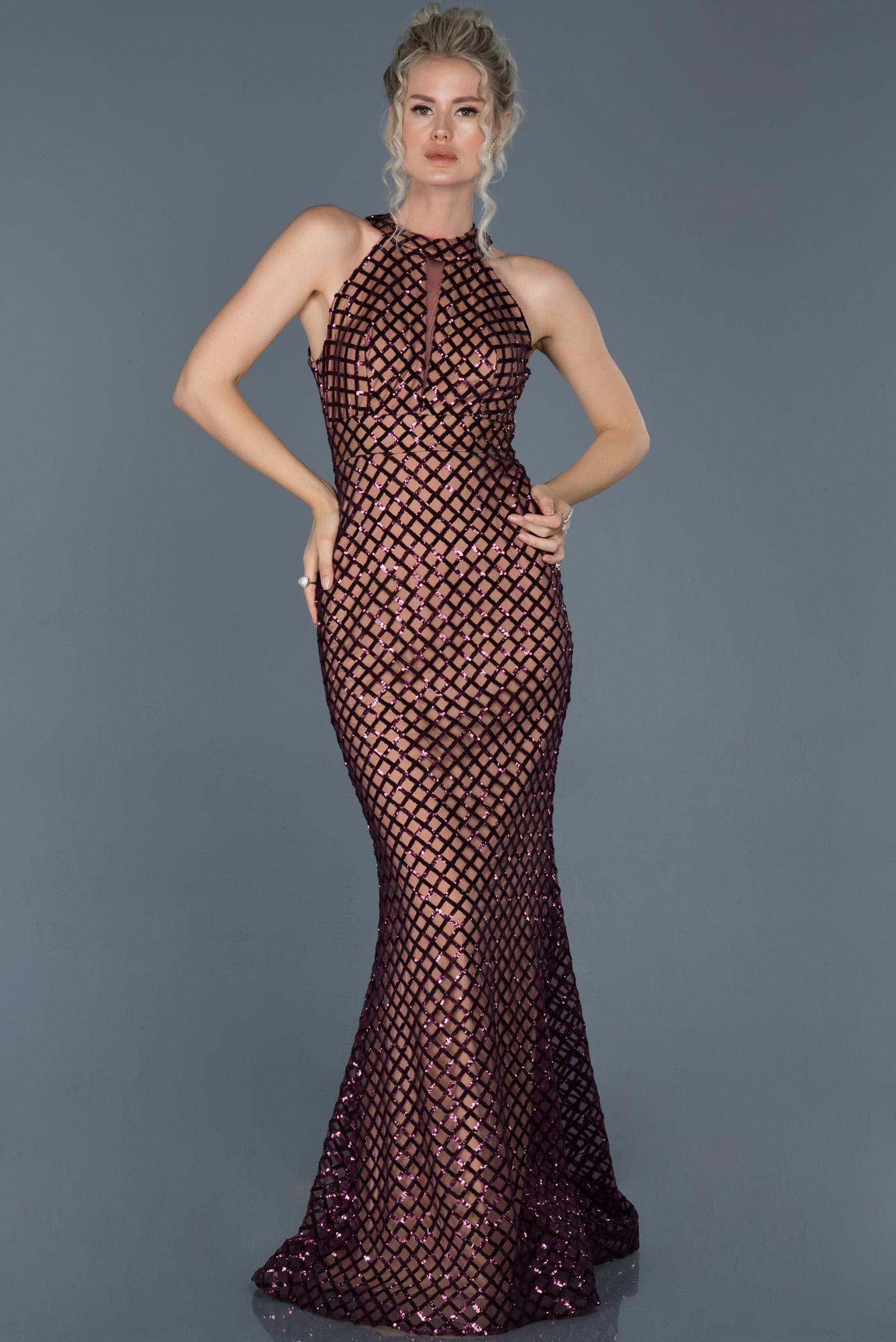 Mor Uzun Payetli Dekoltesiz Balık Abiye Elbise