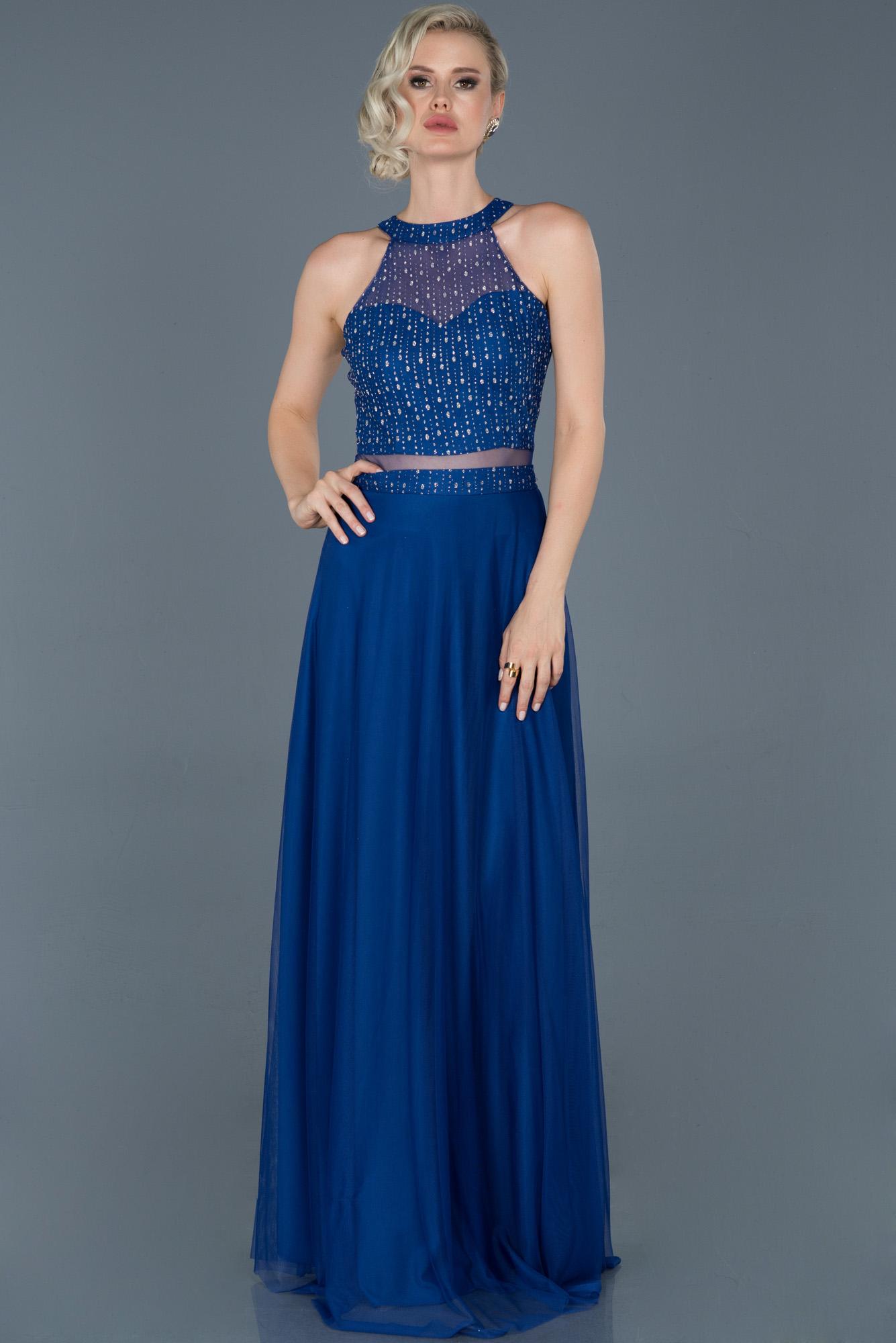 Saks Mavi Uzun Kolsuz Abiye Elbise