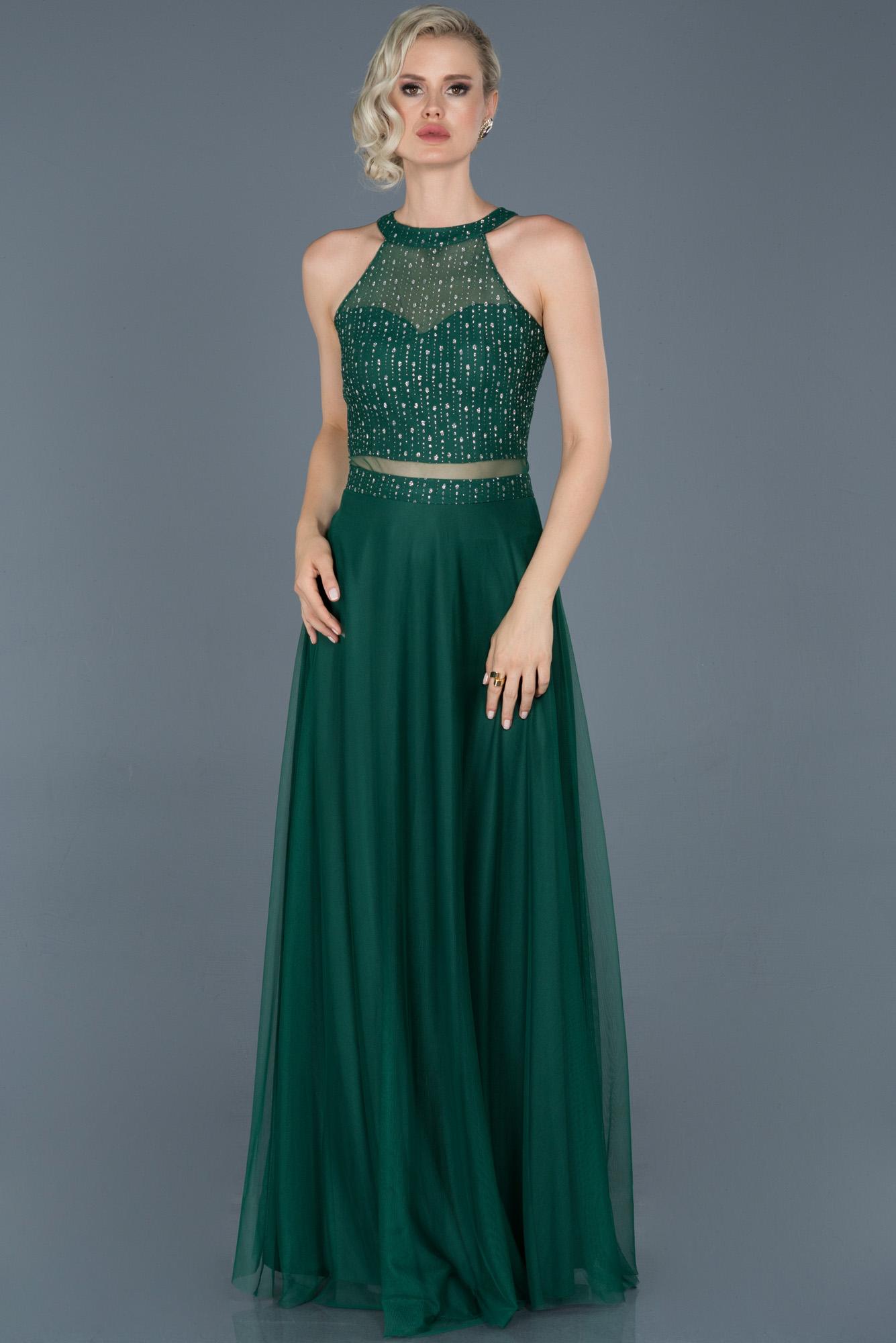Yeşil Uzun Kolsuz Abiye Elbise