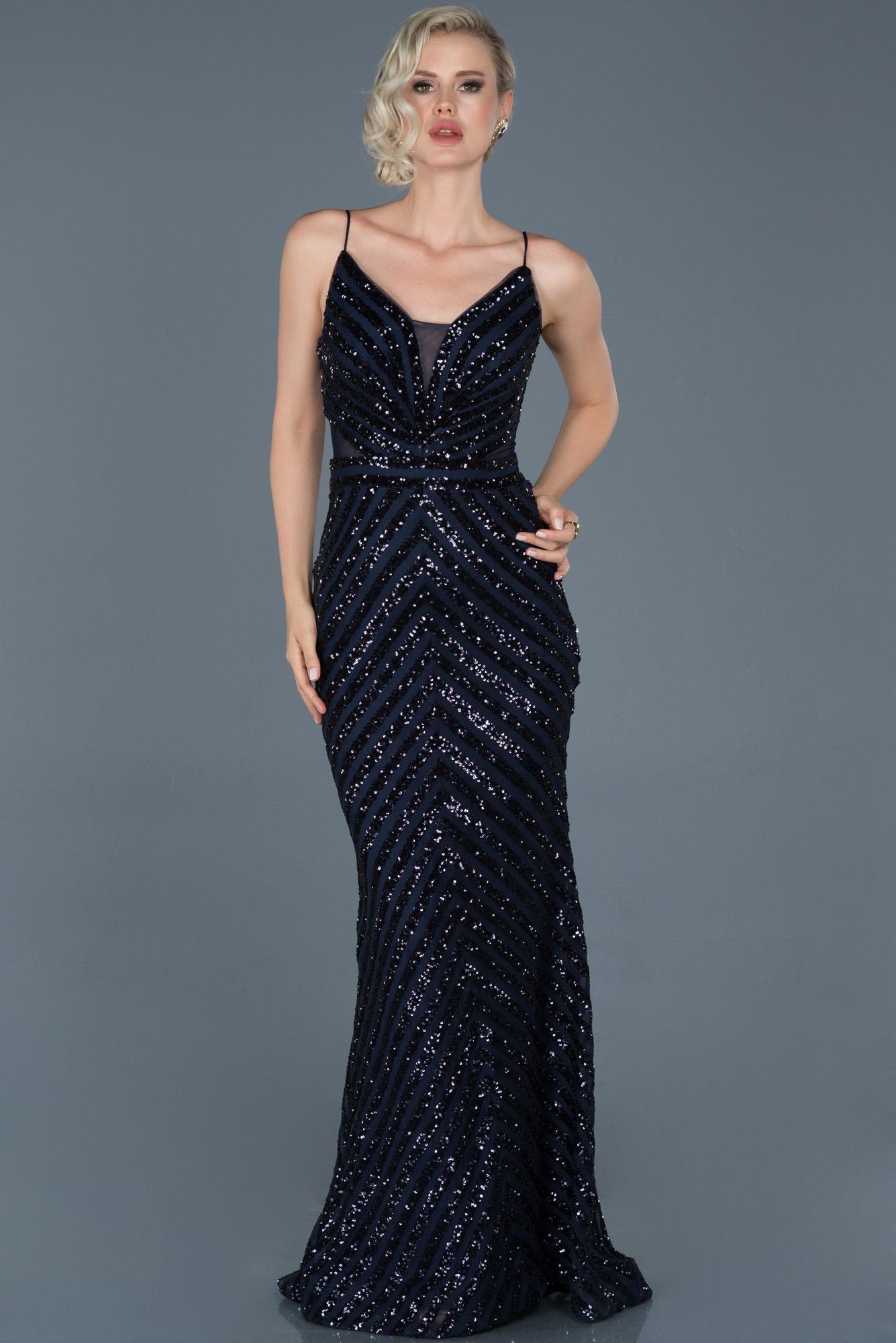 Lacivert Uzun Payetli Ip Askılı Balık Abiye Elbise