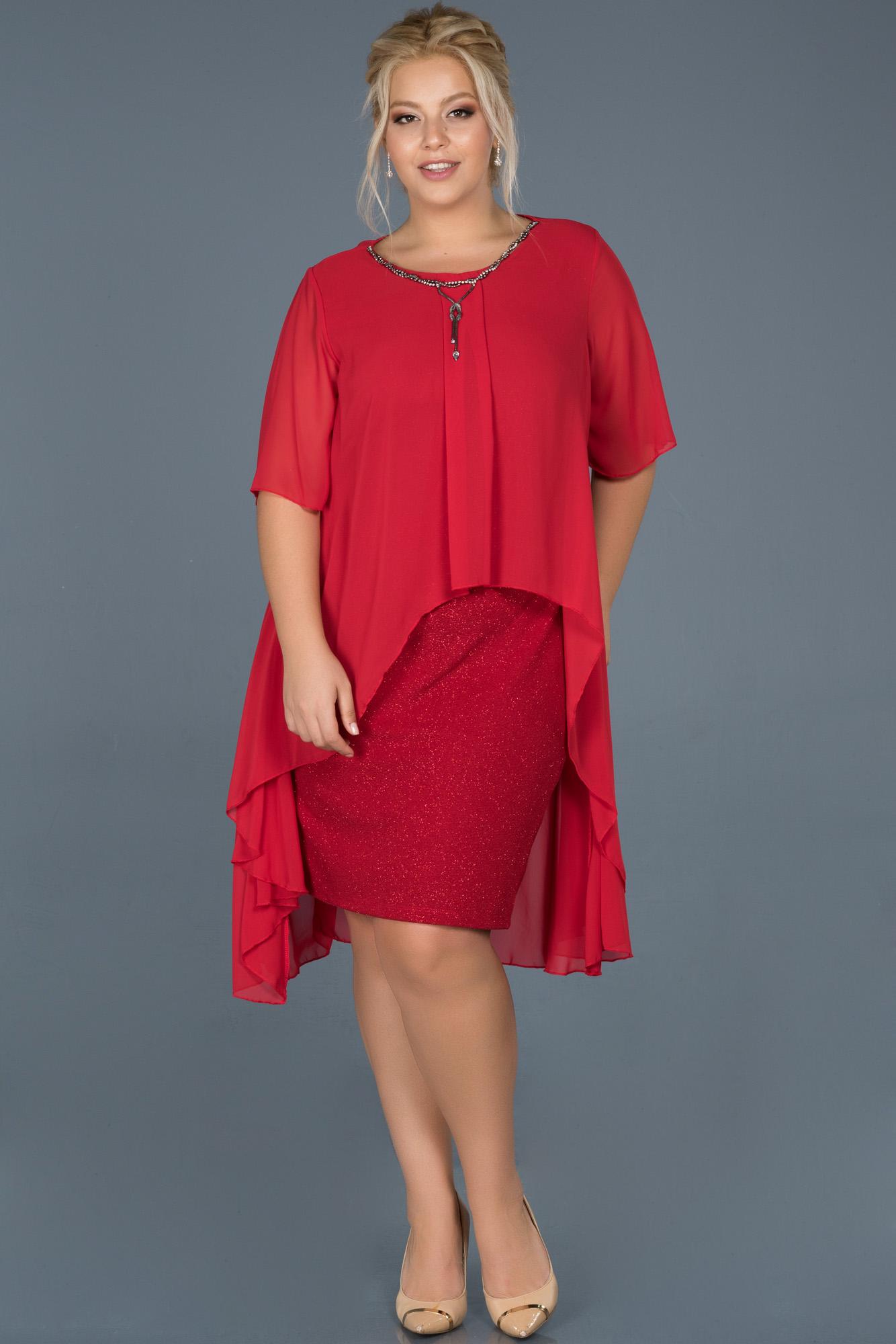 Kırmızı Büyük Beden Davet Elbisesi