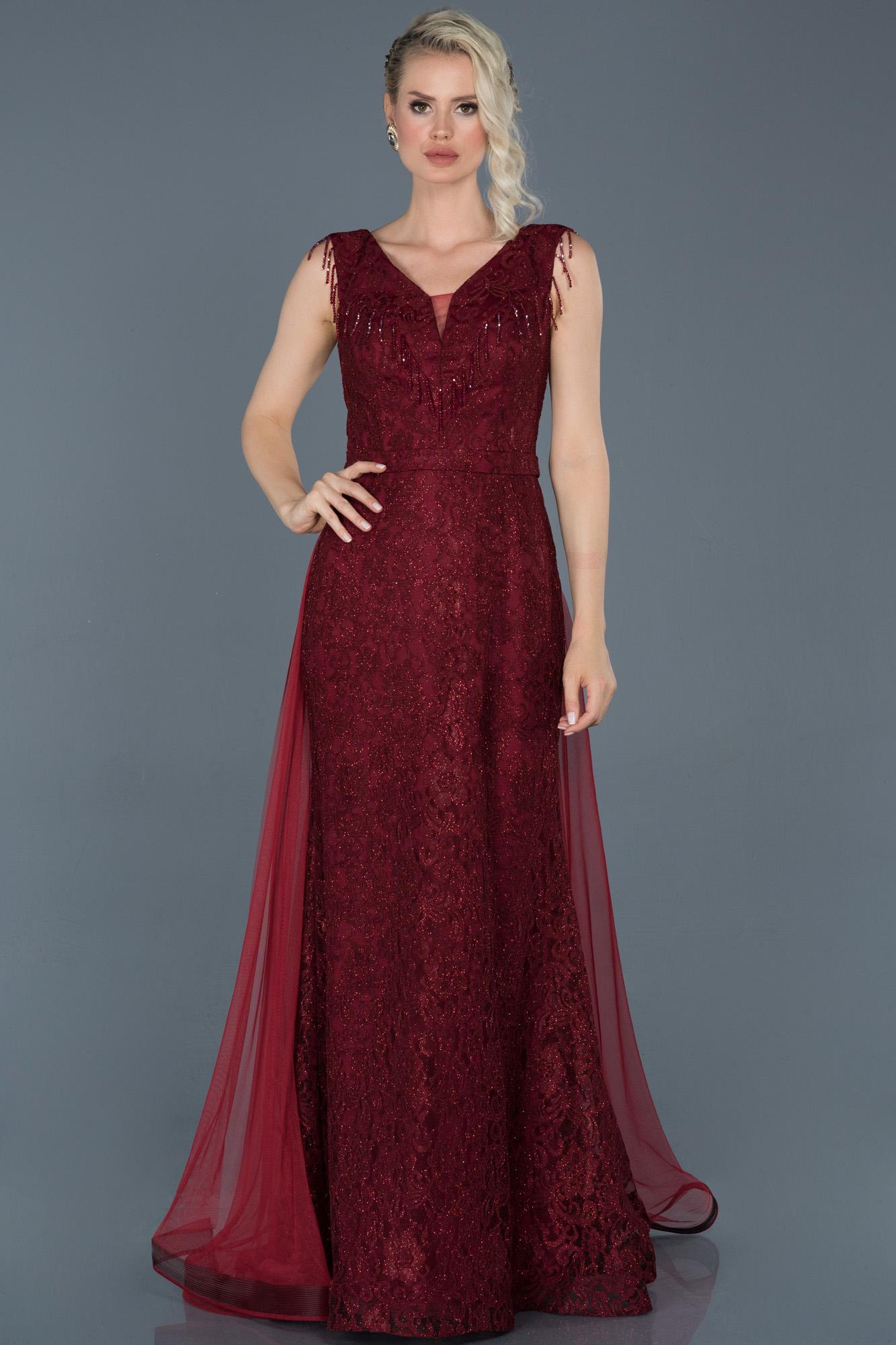 Bordo Uzun Güpürlü Tül Detaylı Abiye Elbise