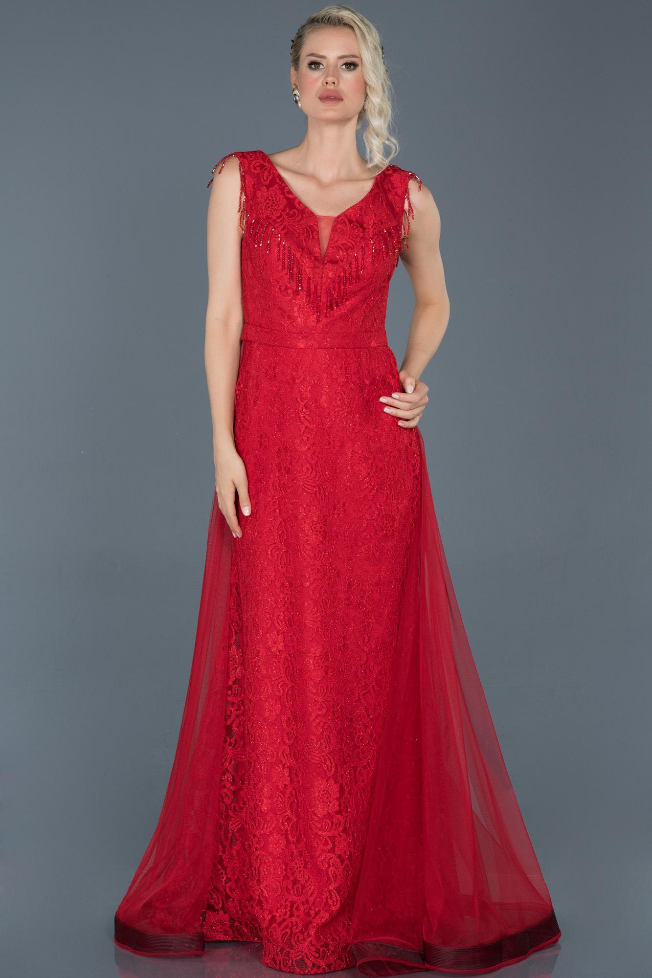 Kırmızı Uzun Güpürlü Tül Detaylı Abiye Elbise