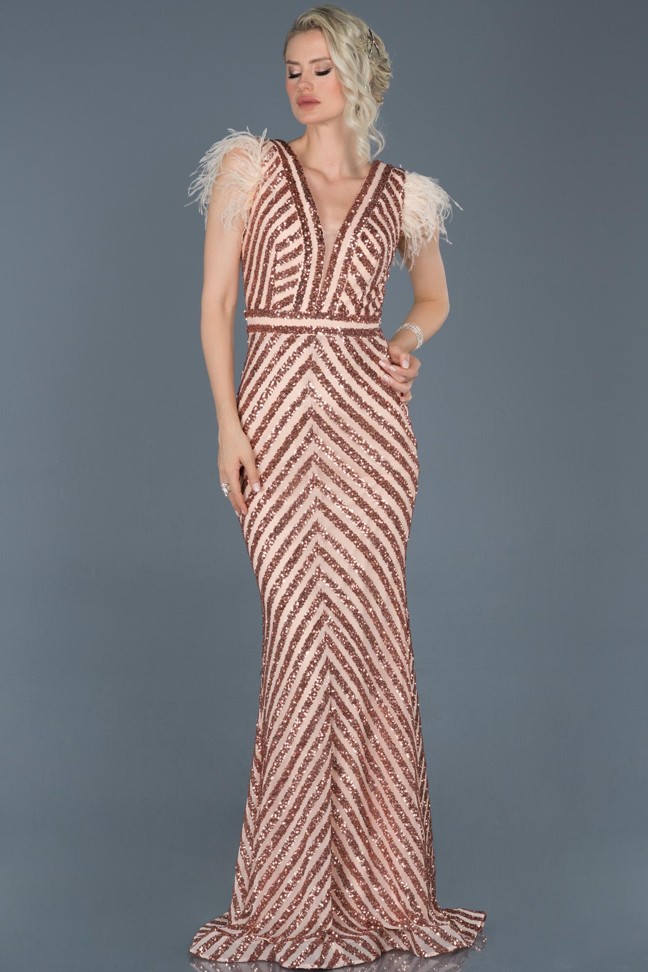 Somon Uzun Pul Işlemeli Otrişli Abiye Elbise
