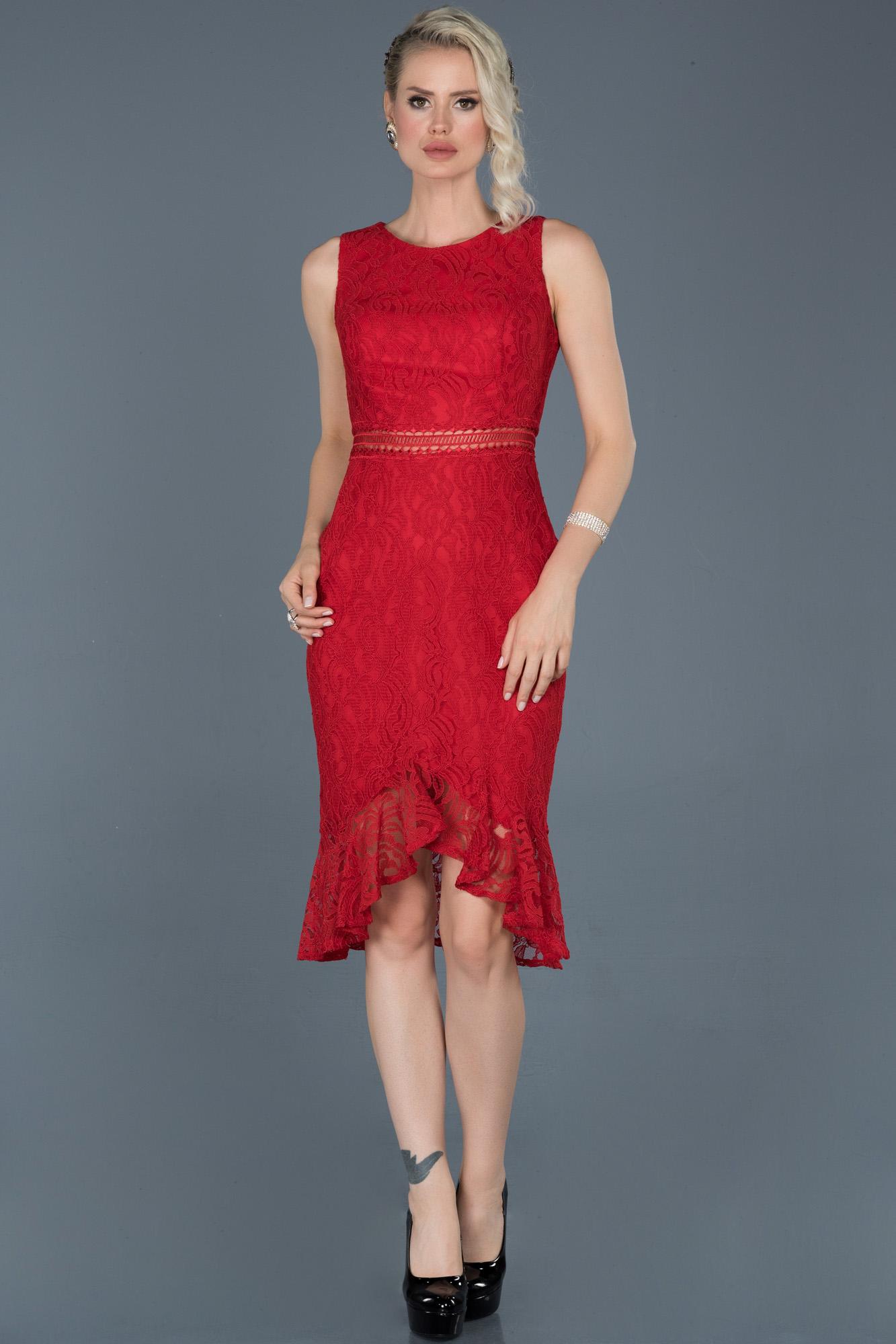 Kırmızı Kısa Güpürlü Abiye Elbise