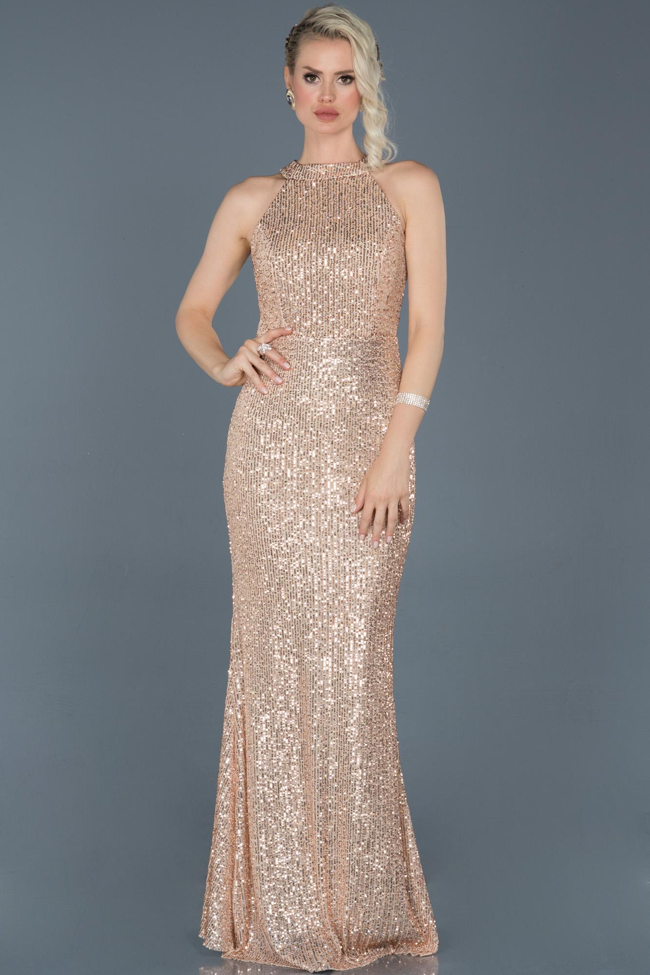Gold Uzun Pullu Balık Abiye Elbise