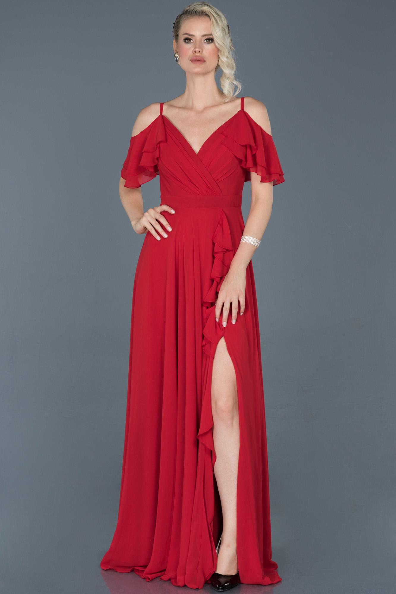Kırmızı Uzun Bacak Dekolteli Şifon Mezuniyet Elbisesi