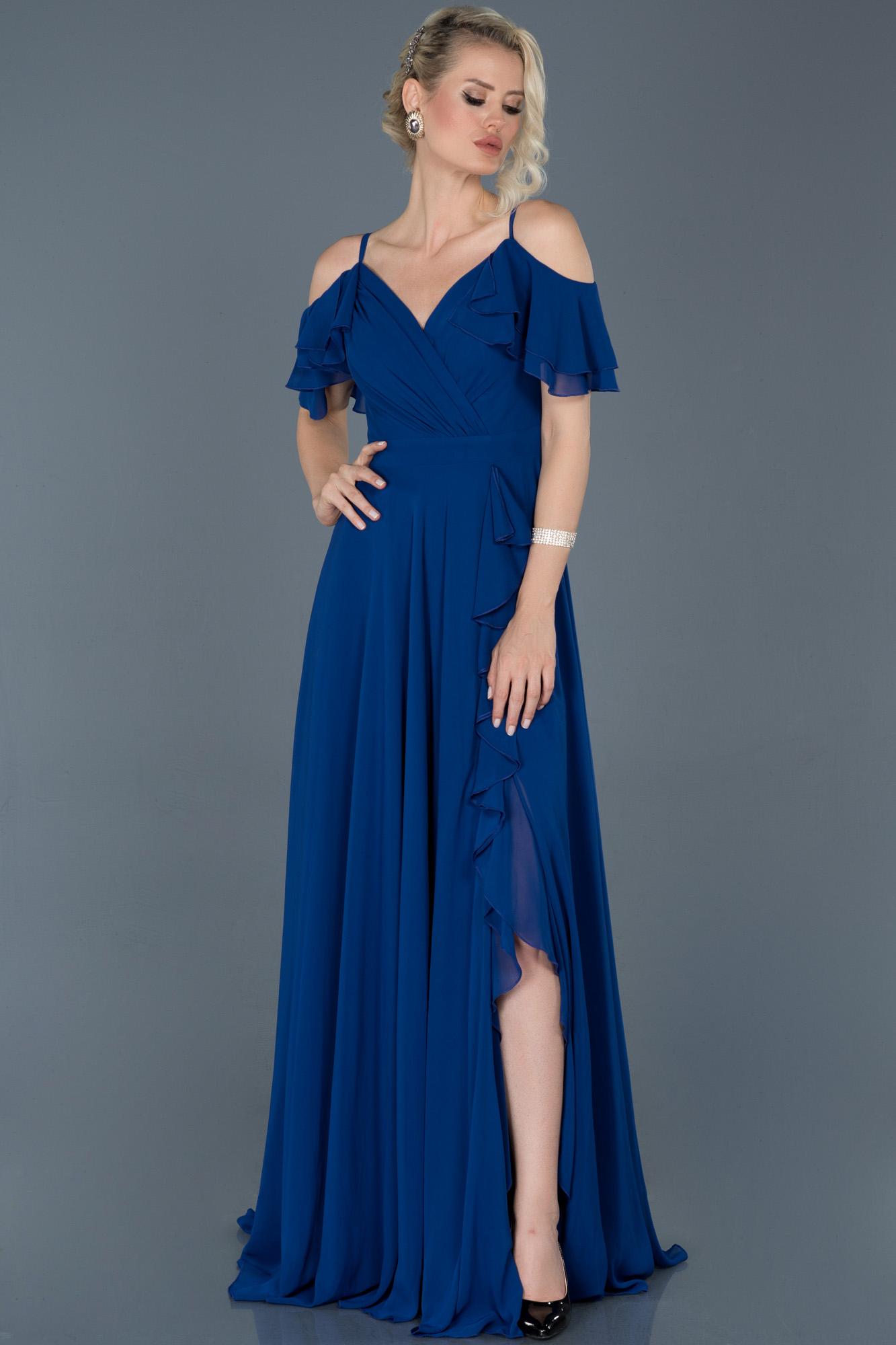 Saks Mavi Uzun Bacak Dekolteli Şifon Mezuniyet Elbisesi