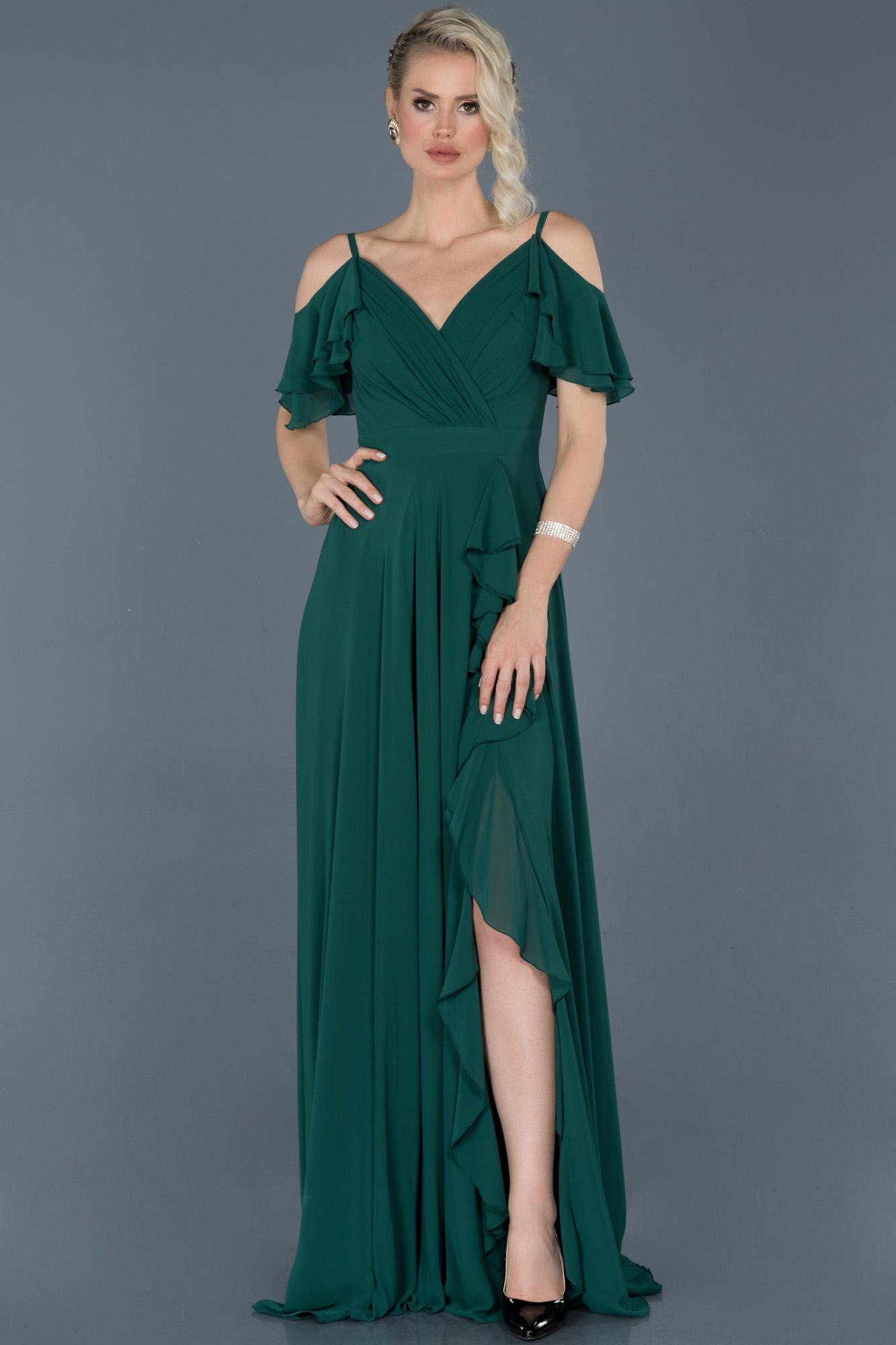 Zümrüt Yeşili Uzun Bacak Dekolteli Şifon Mezuniyet Elbisesi