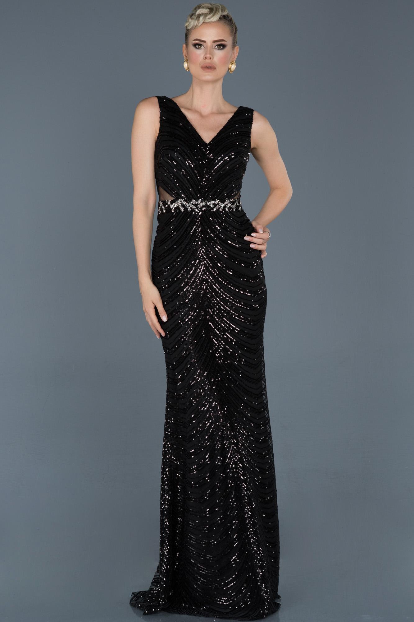 Siyah Uzun V Yaka Pul Payetli Abiye Elbise