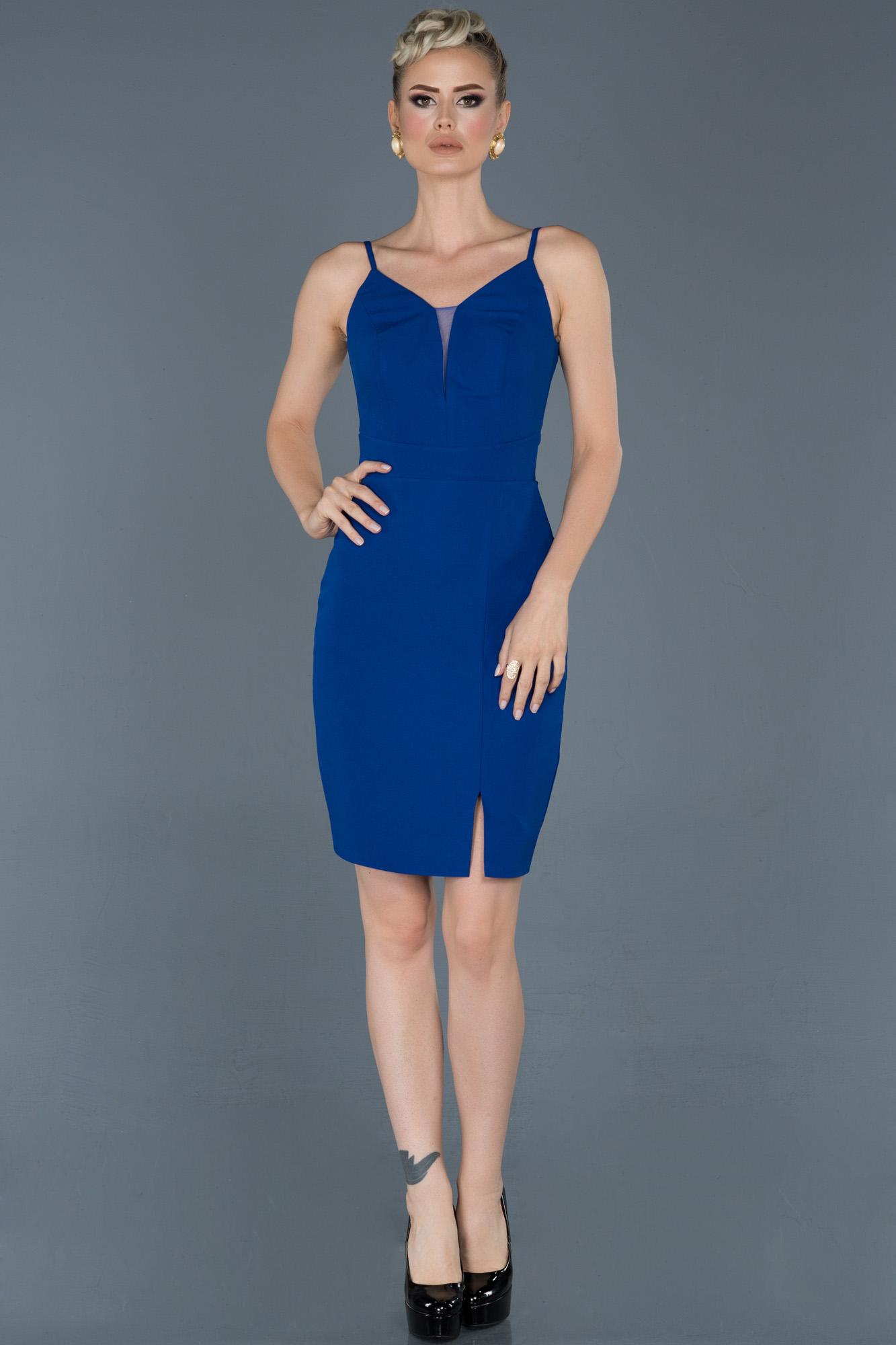 Saks Mavi Kısa Ip Askılı Davet Elbisesi