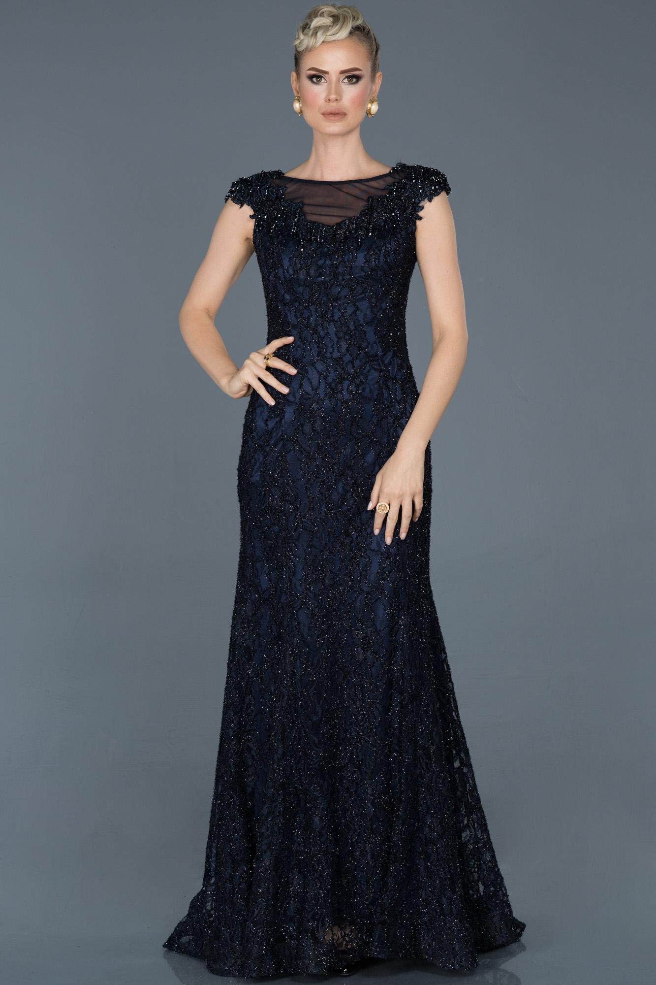 Lacivert Uzun Güpürlü Taş Işlemeli Nişan Elbisesi