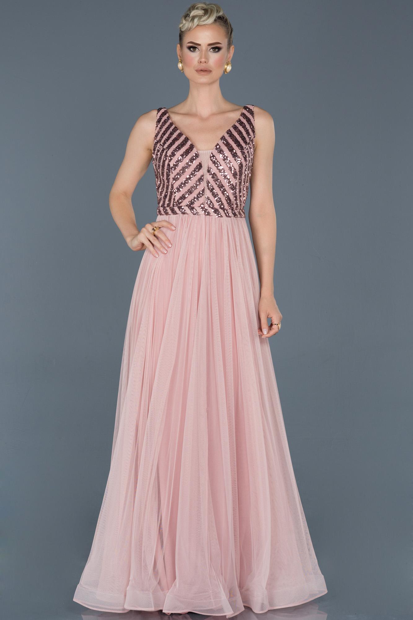 Pudra Uzun Payetli Nişan Elbisesi