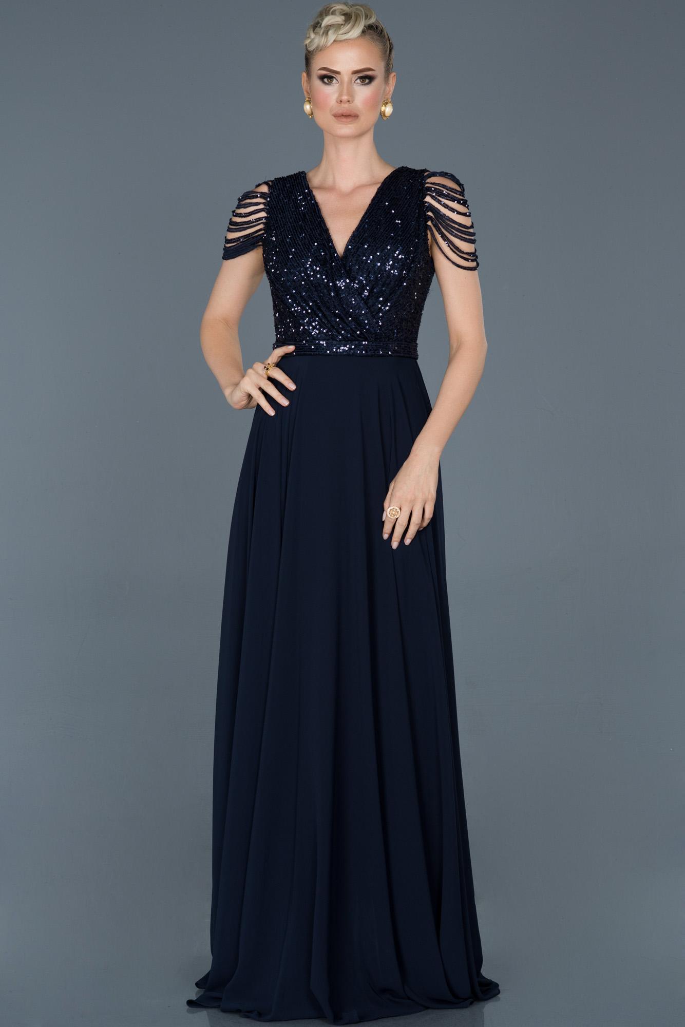Lacivert Uzun Pul Payet Abiye Elbise