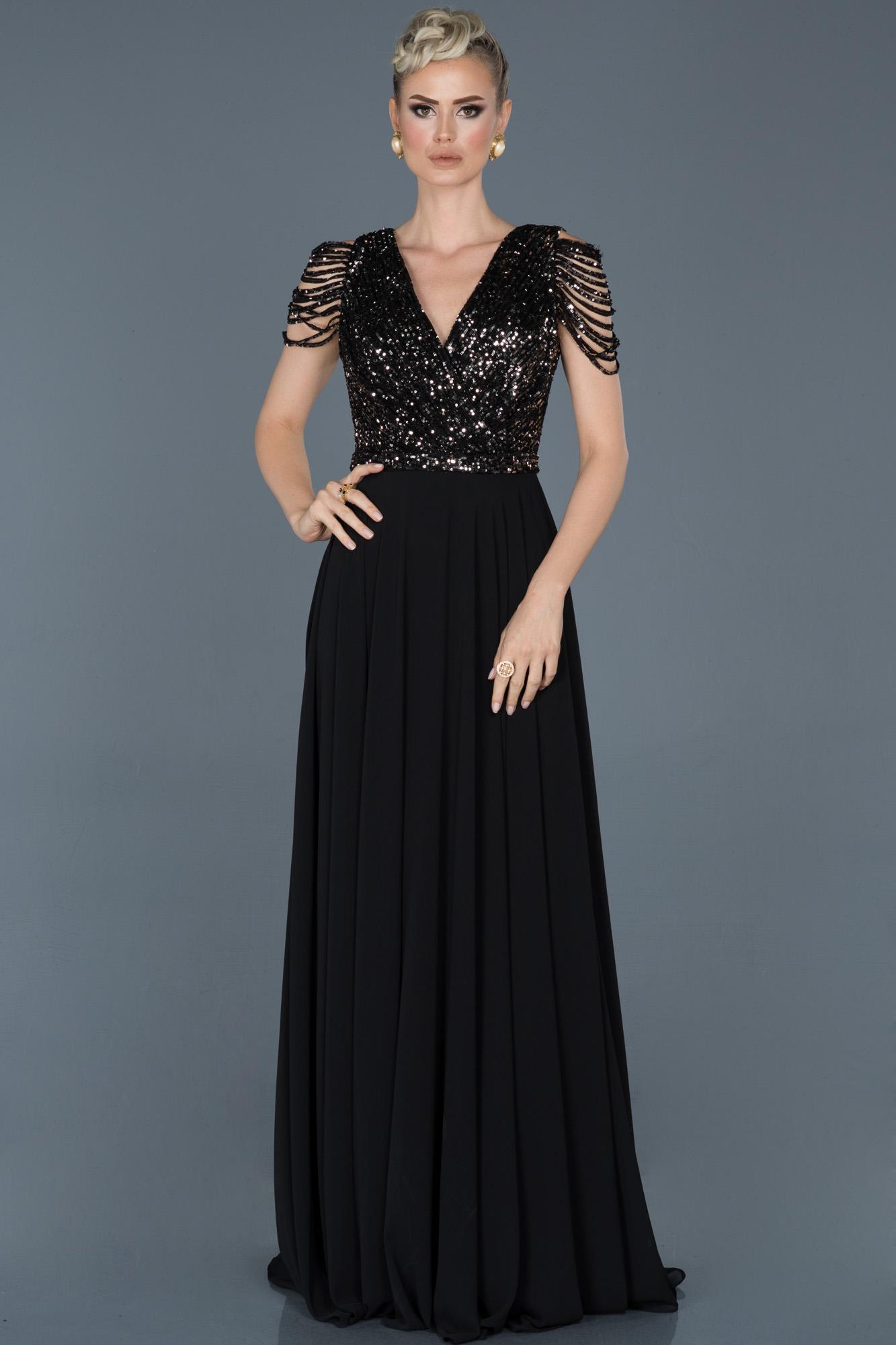 Siyah-Gümüş Uzun Pul Payet Abiye Elbise