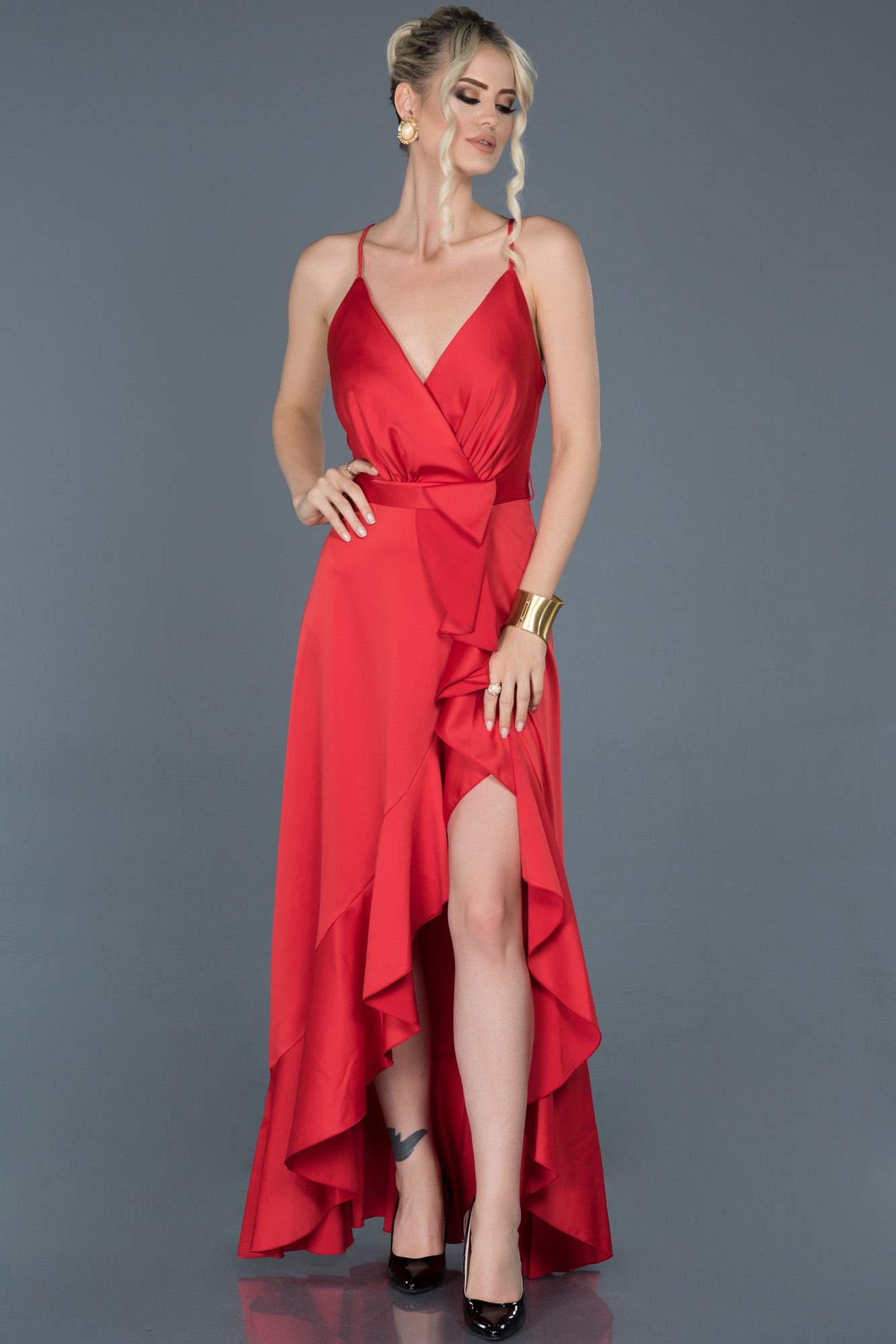 Kırmızı Önü Kısa Arkası Uzun Saten Abiye Elbise