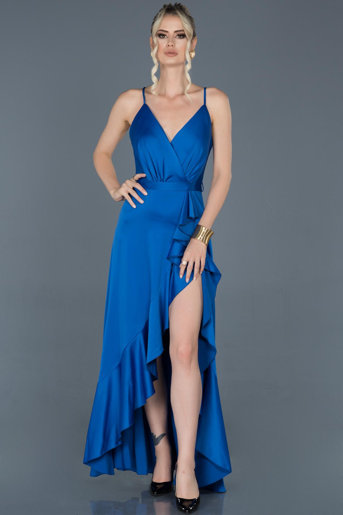 Saks Mavi Önü Kısa Arkası Uzun Saten Abiye Elbise
