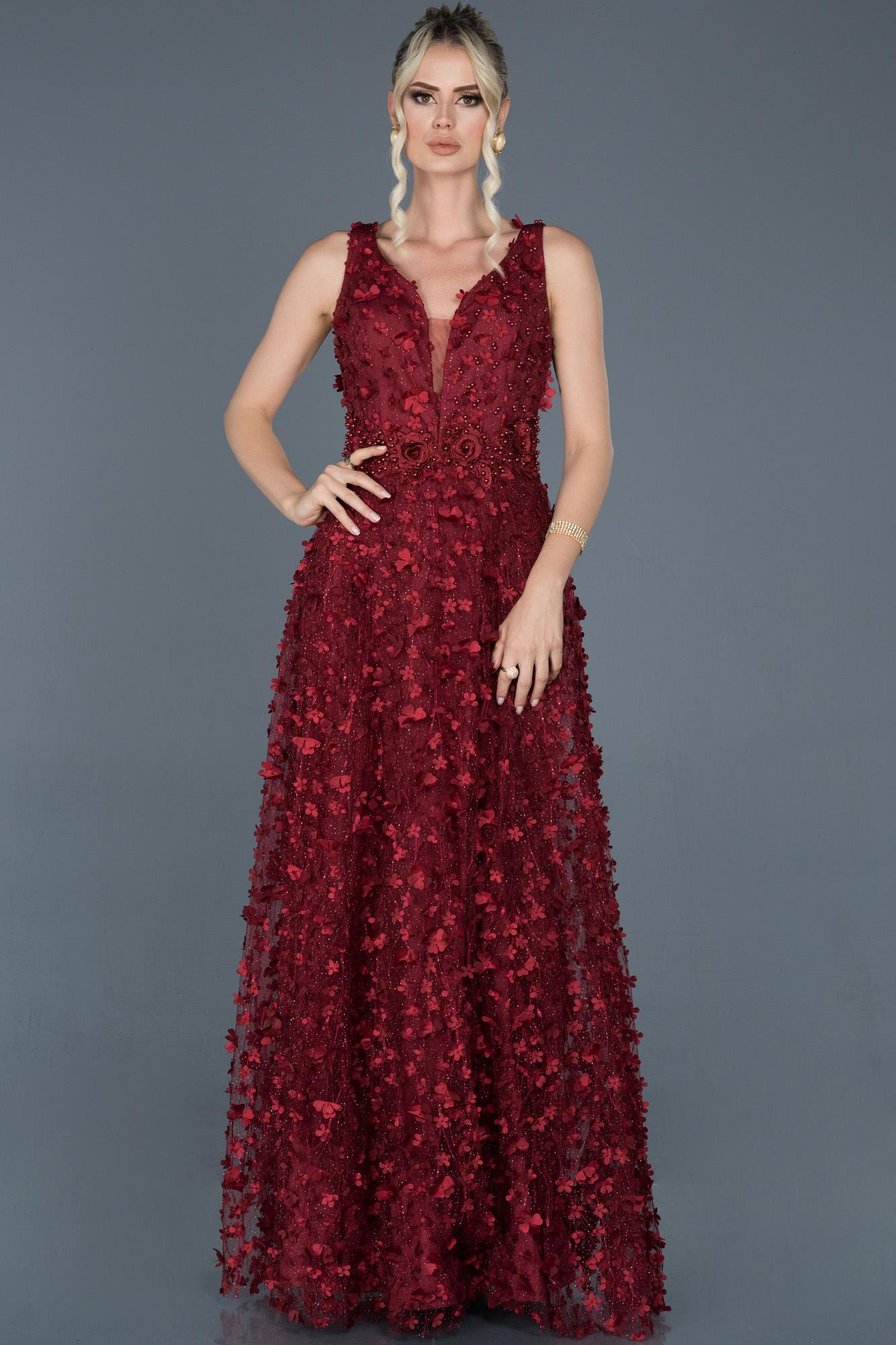 Bordo Uzun Çiçekli Nişan Elbisesi