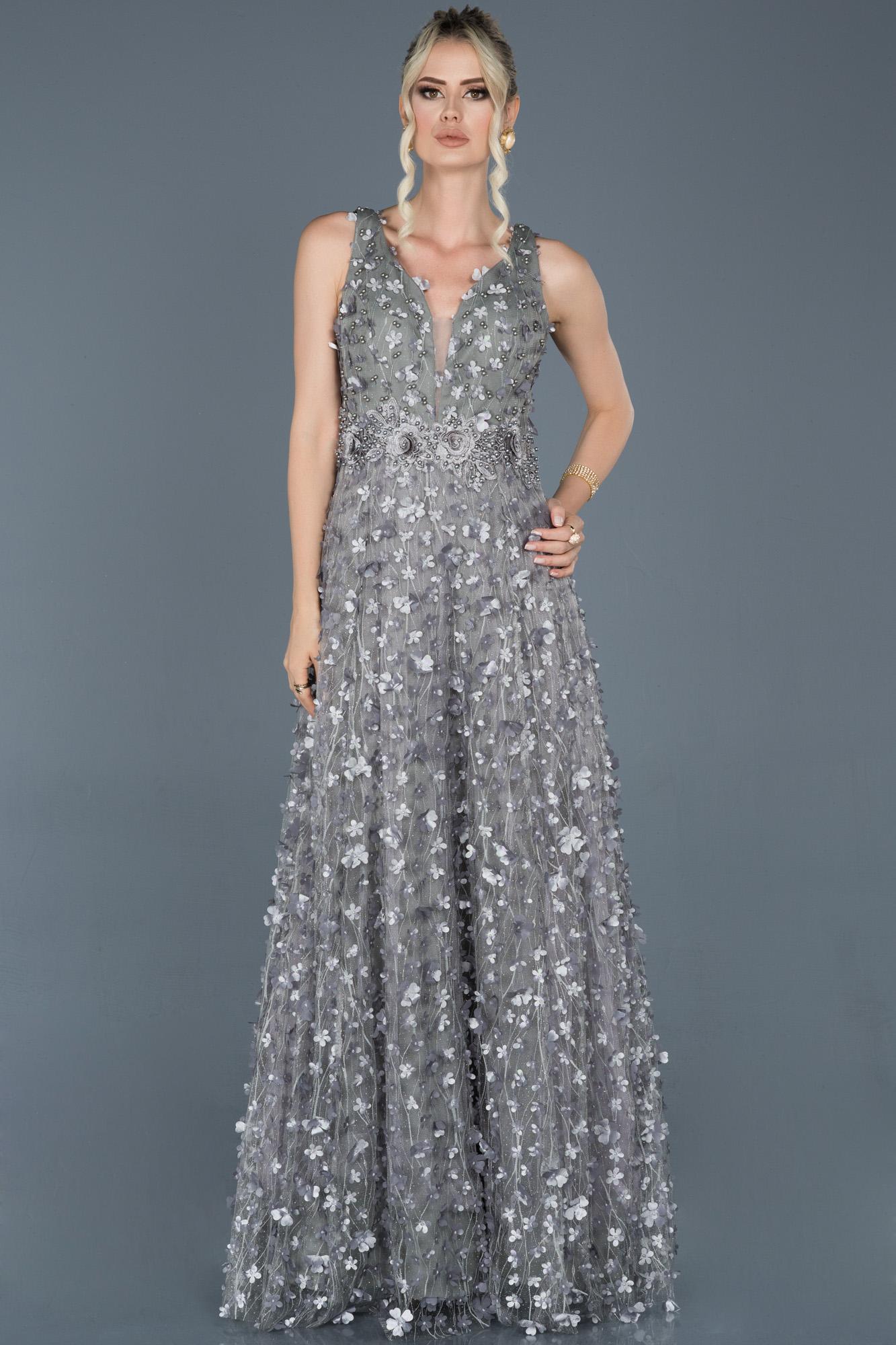 Gri Uzun Çiçekli Nişan Elbisesi
