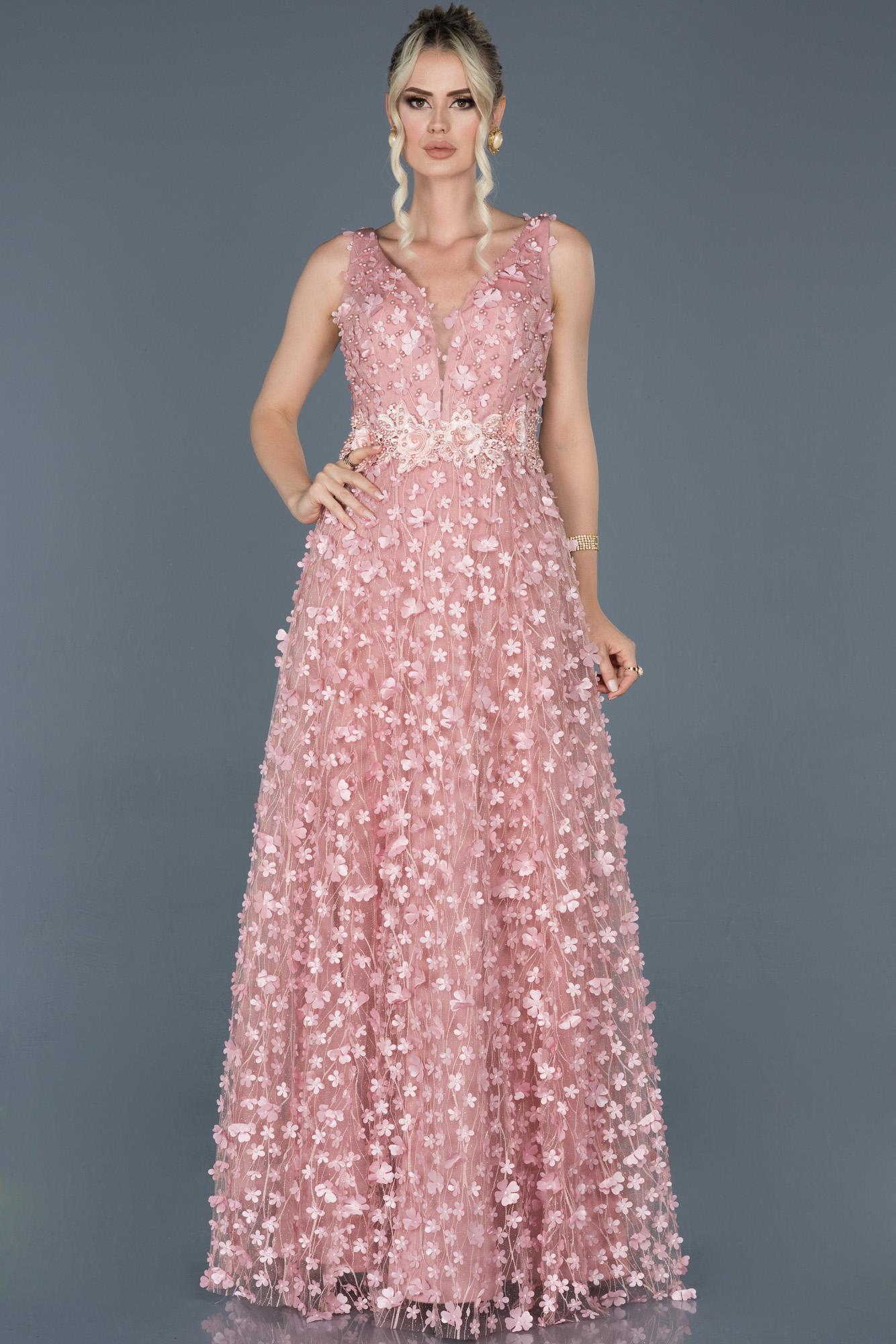 Pudra Uzun Çiçekli Nişan Elbisesi