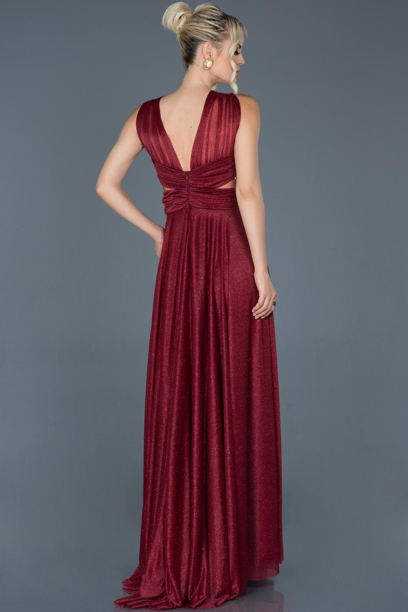 Bordo Uzun Kolsuz Sırt Dekolteli Nişan Elbisesi