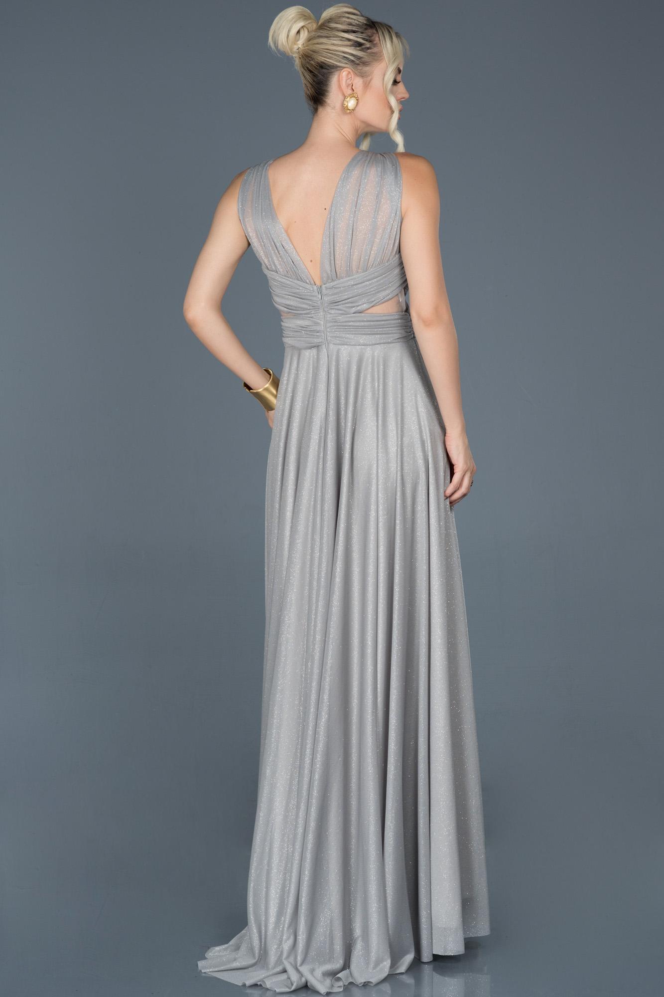 Gümüş Uzun Kolsuz Sırt Dekolteli Nişan Elbisesi