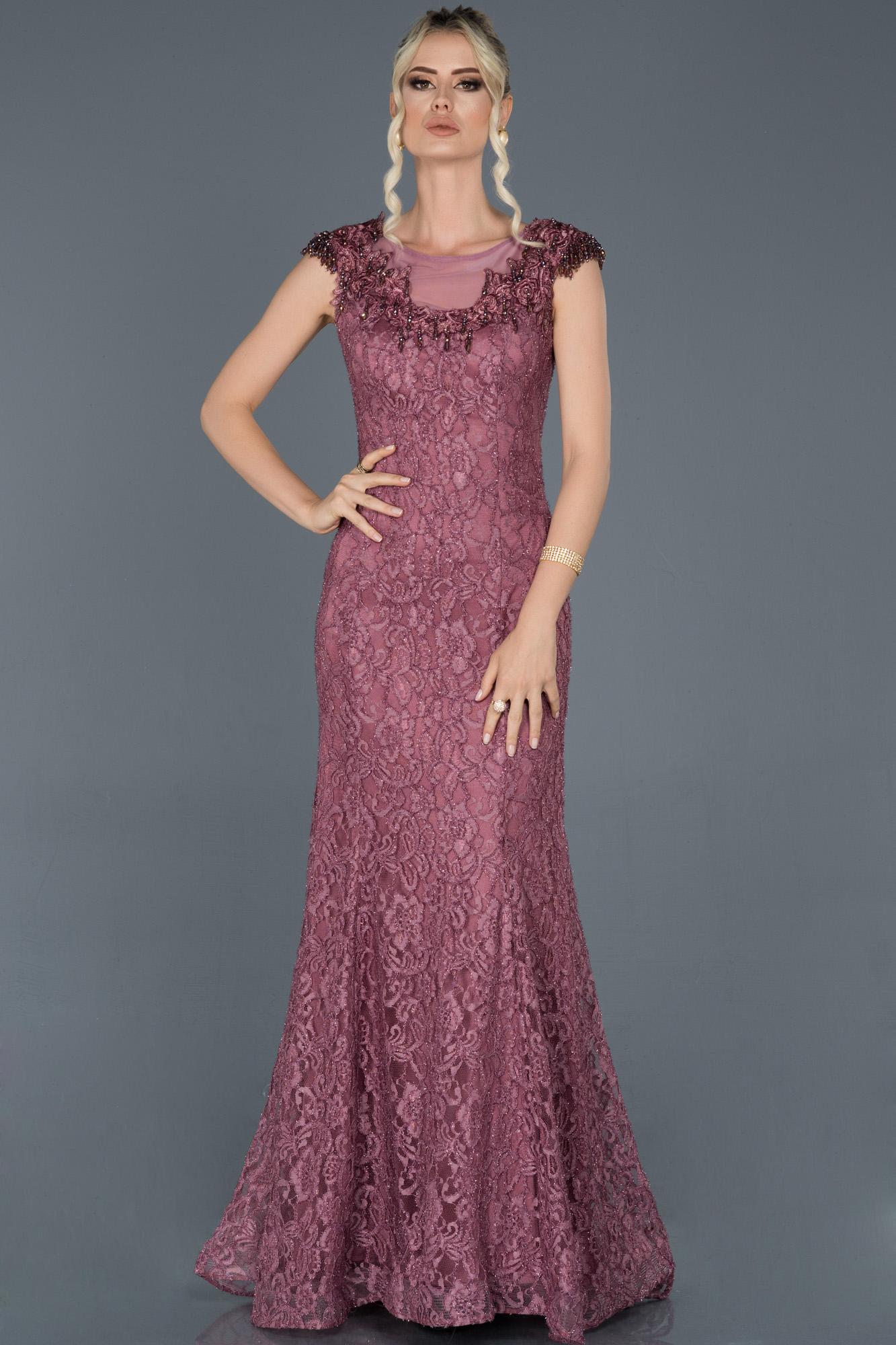 Gül Kurusu Uzun Güpürlü Taş Işlemeli Nişan Elbisesi