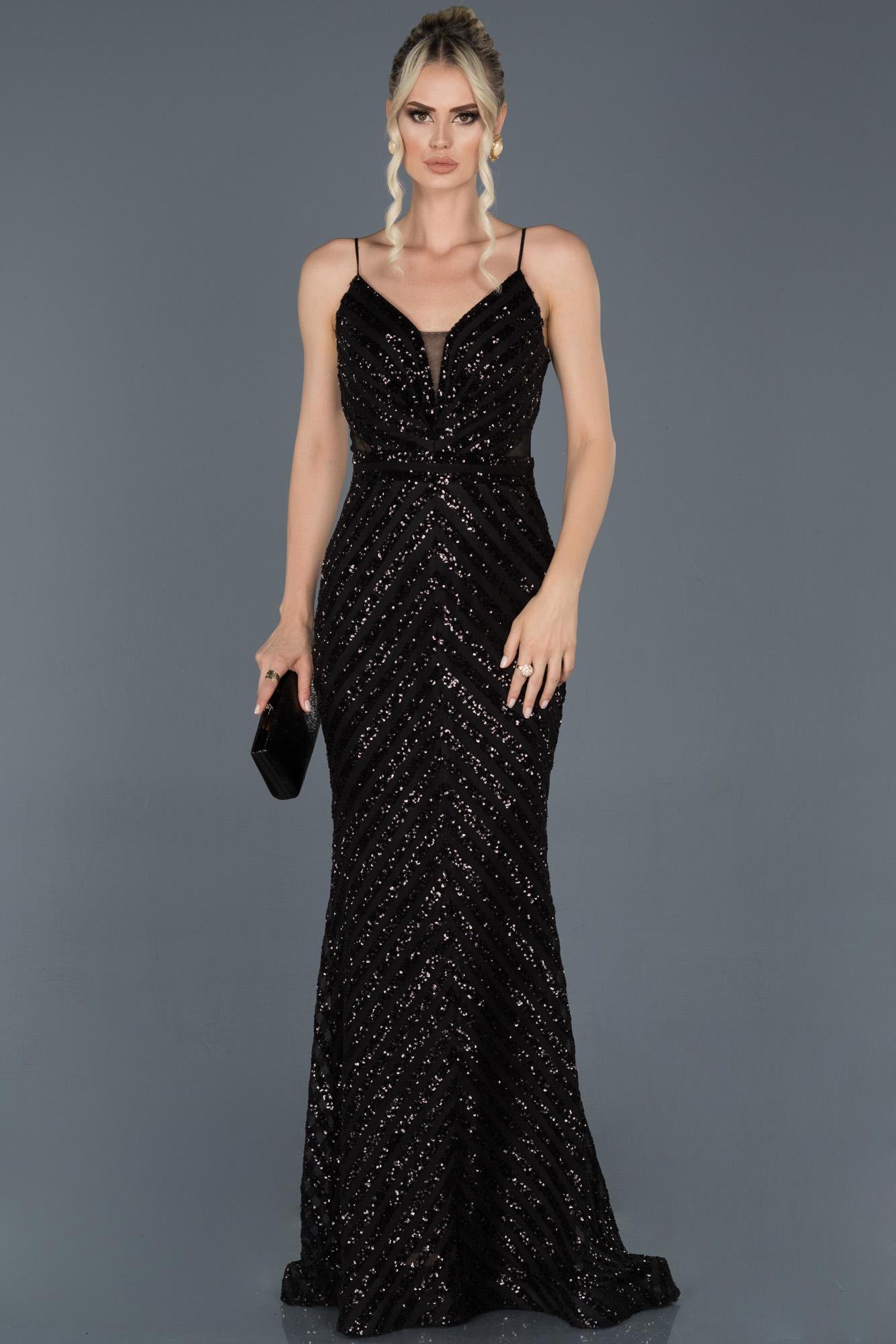 Siyah Uzun Payetli Ip Askılı Balık Abiye Elbise