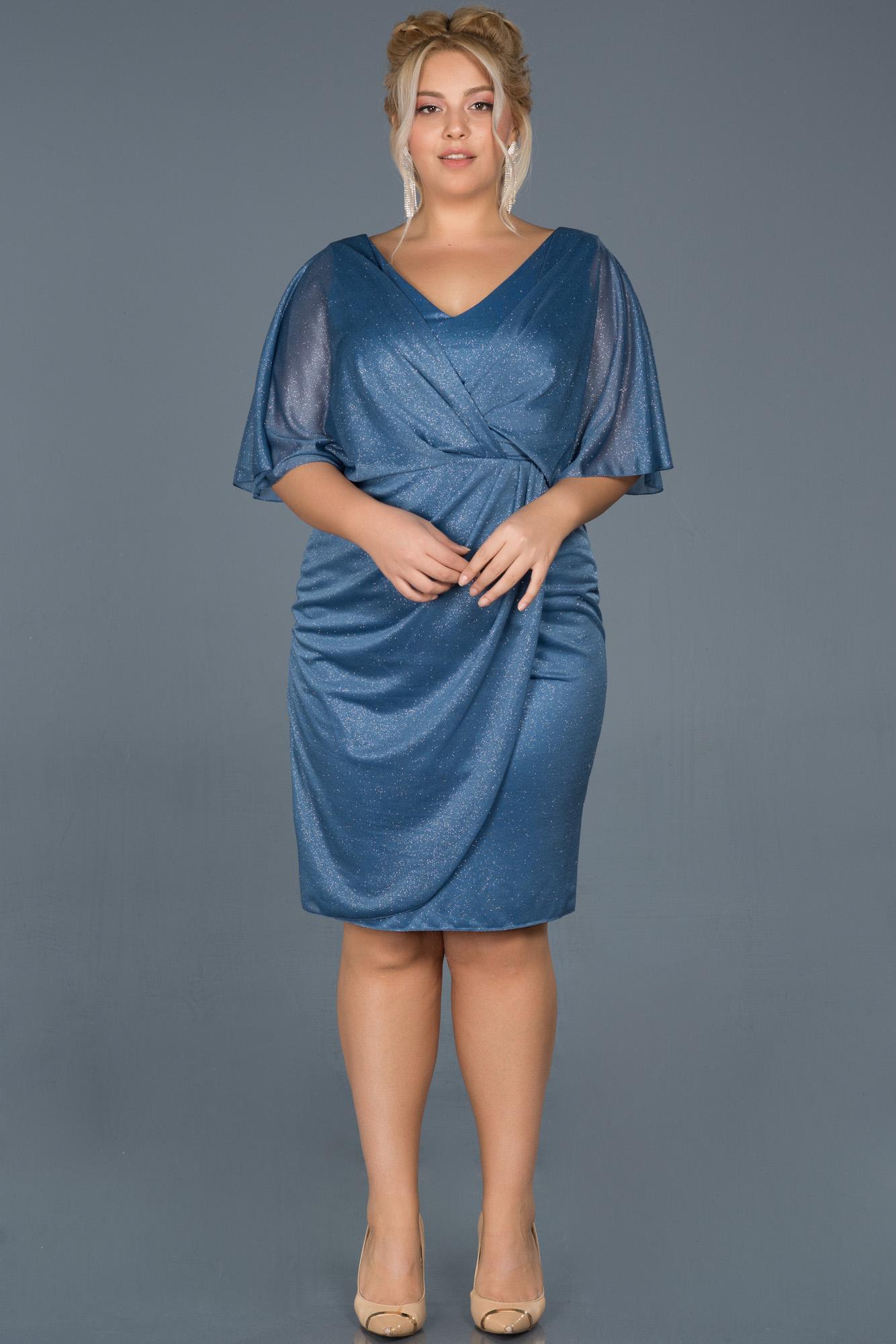 Indigo Kısa Simli Yarım Kol Davet Elbisesi