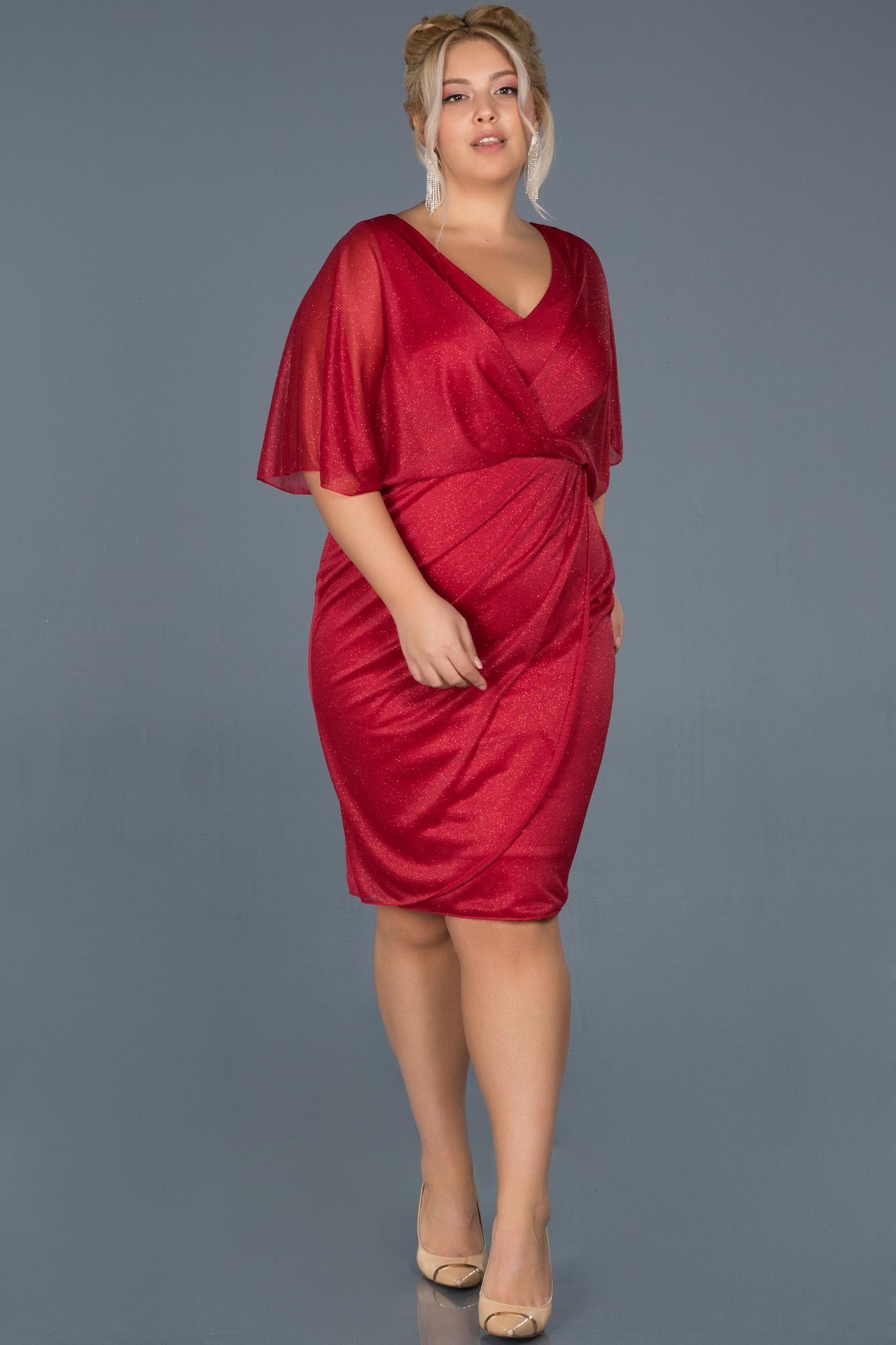 Kırmızı Kısa Simli Yarım Kol Davet Elbisesi