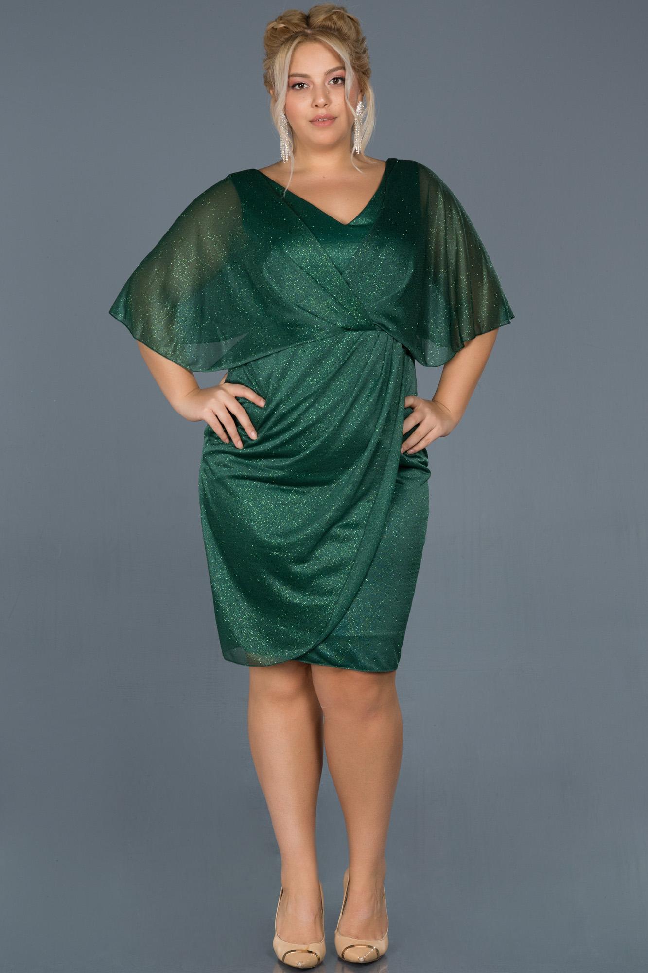 Zümrüt Yeşili Kısa Simli Yarım Kol Davet Elbisesi