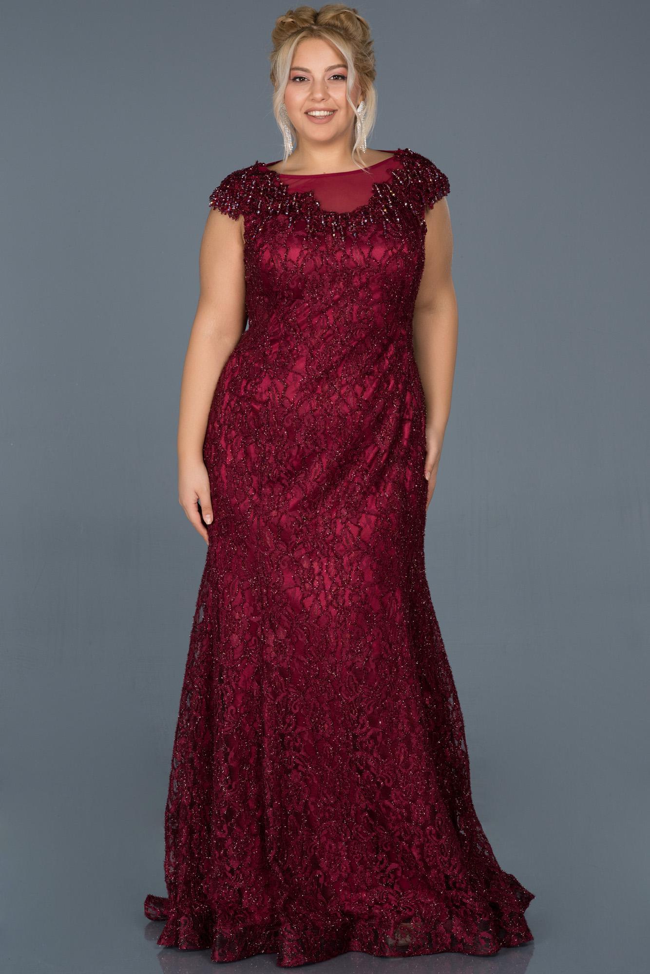 Bordo Güpürlü Taş Işlemeli Büyük Beden Nişan Elbisesi