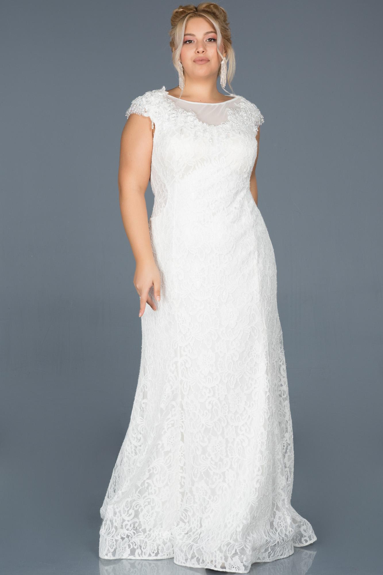Ekru Güpürlü Taş Işlemeli Büyük Beden Nişan Elbisesi