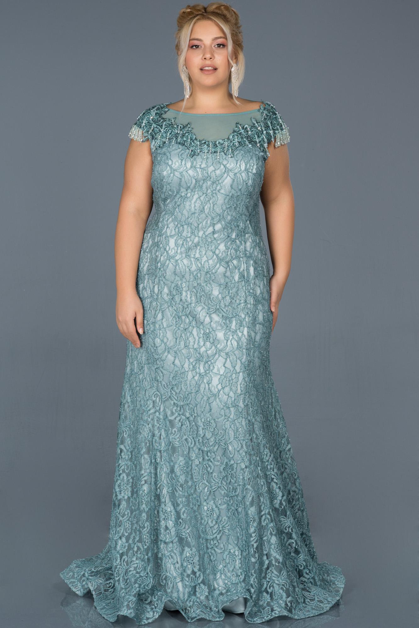 Firuze Güpürlü Taş Işlemeli Büyük Beden Nişan Elbisesi