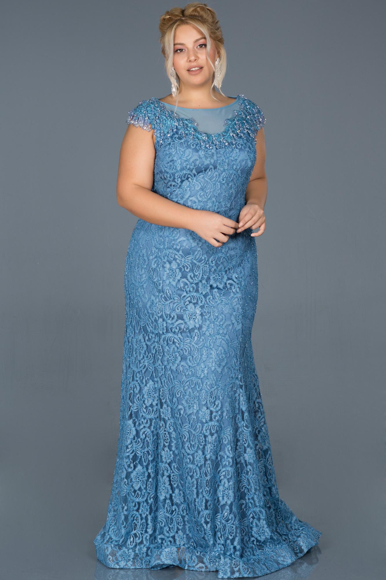 Indigo Güpürlü Taş Işlemeli Büyük Beden Nişan Elbisesi