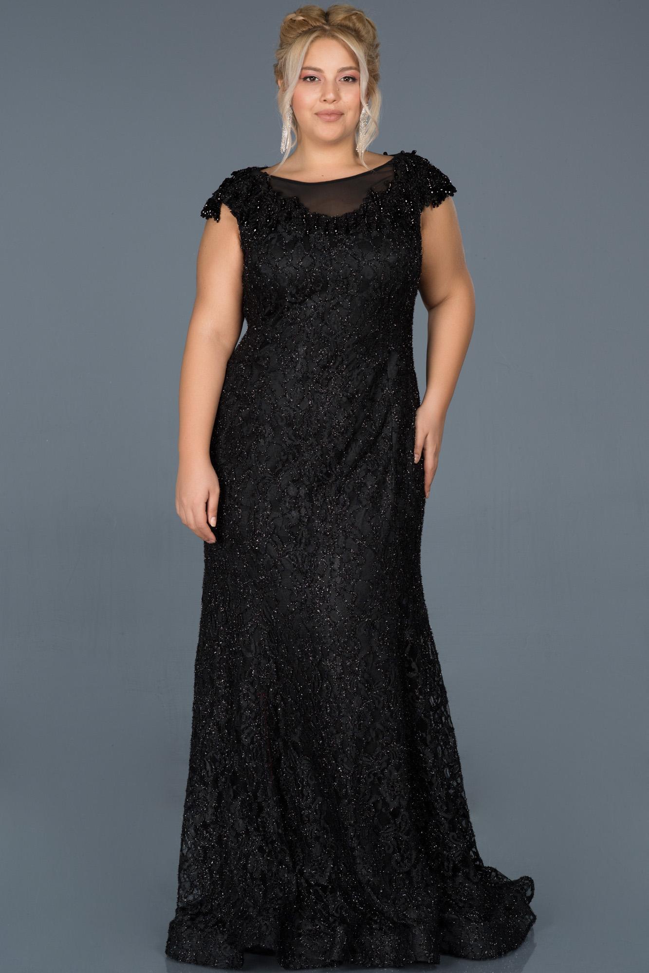 Siyah Güpürlü Taş Işlemeli Büyük Beden Nişan Elbisesi