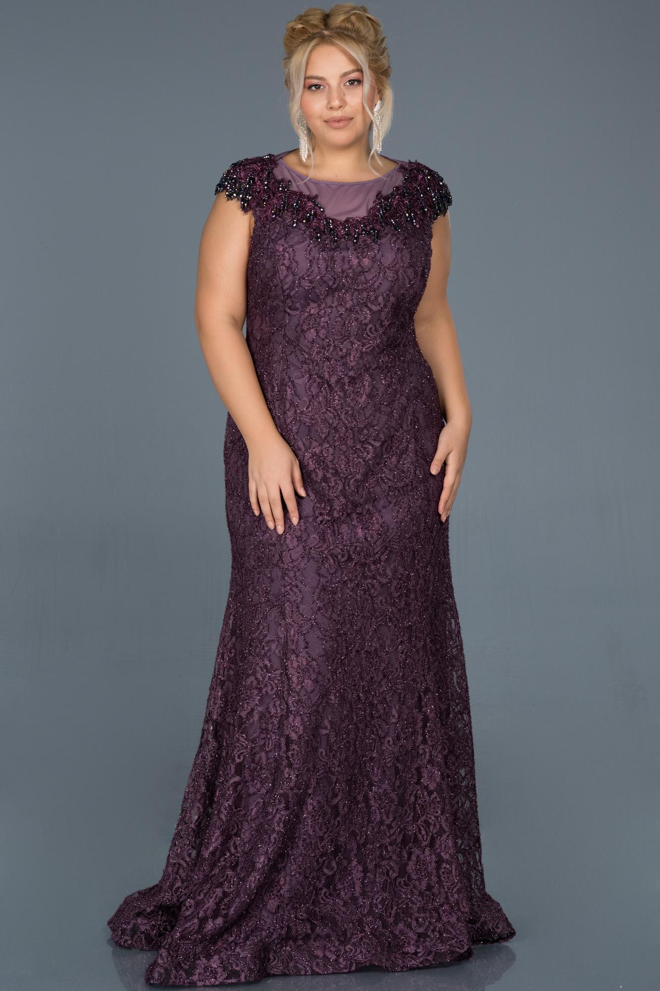 Lavanta Güpürlü Taş Işlemeli Büyük Beden Nişan Elbisesi