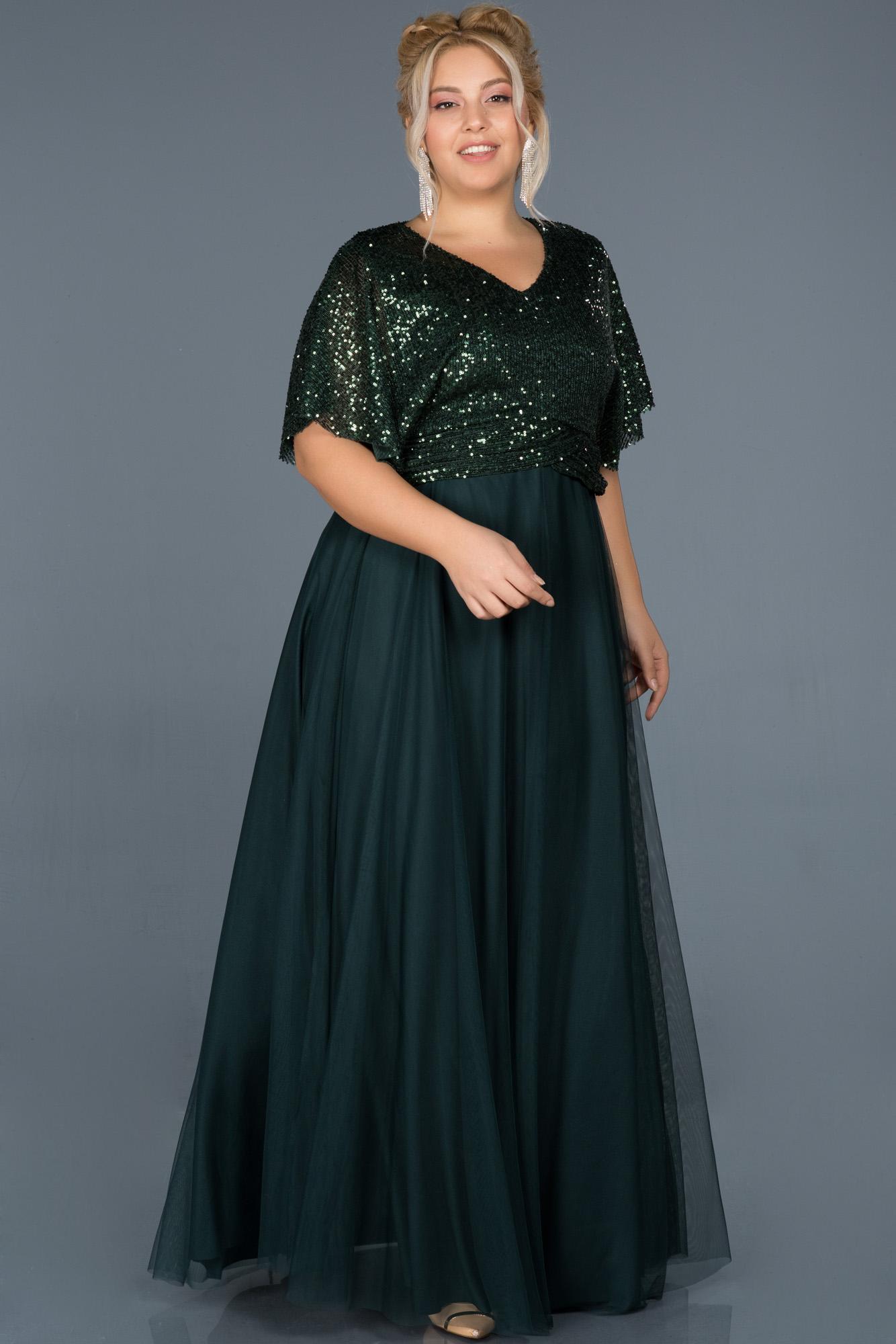 Zümrüt Yeşili Uzun Payetli Büyük Beden Davet Elbisesi