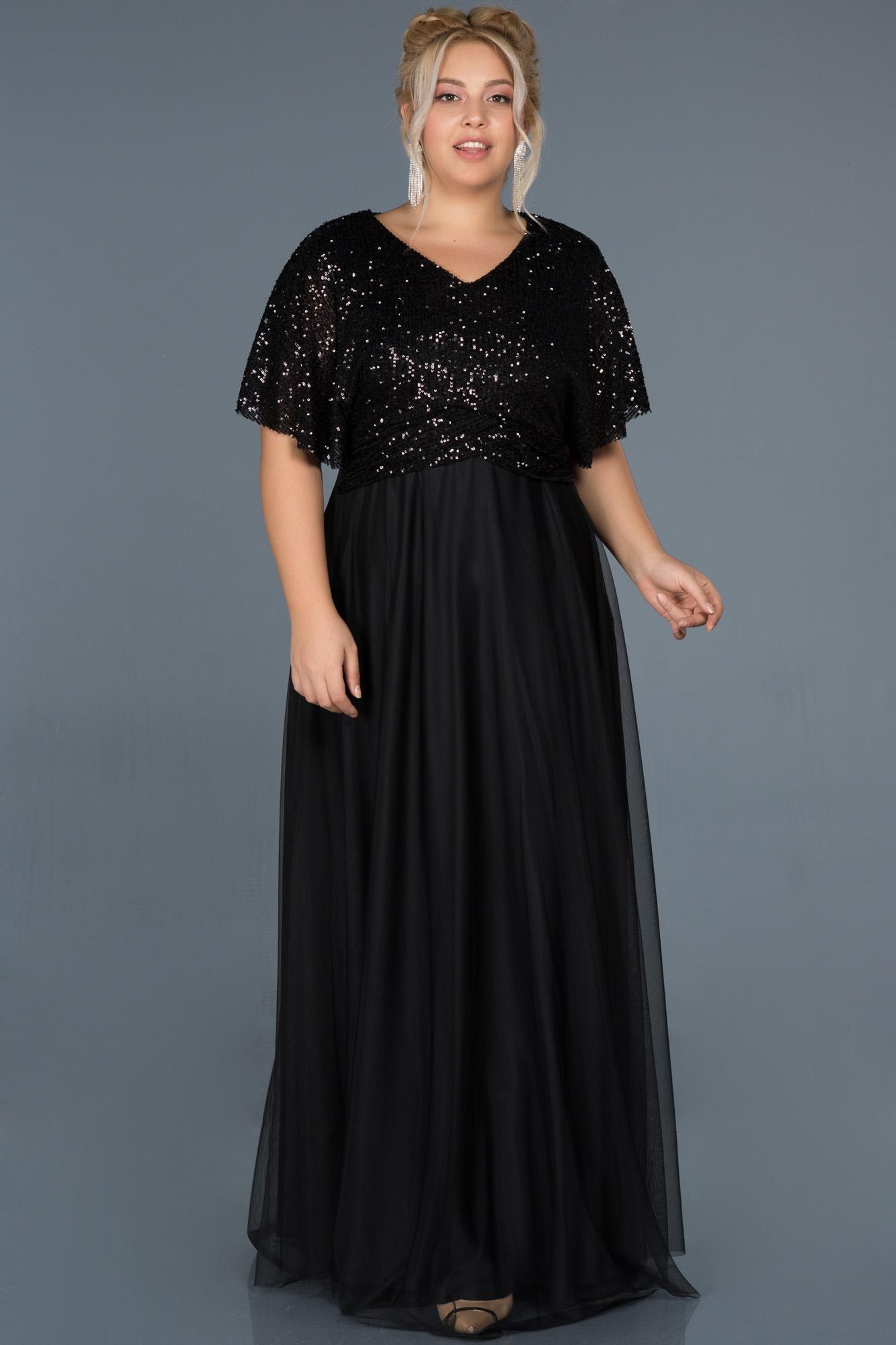 Siyah Uzun Payetli Büyük Beden Davet Elbisesi